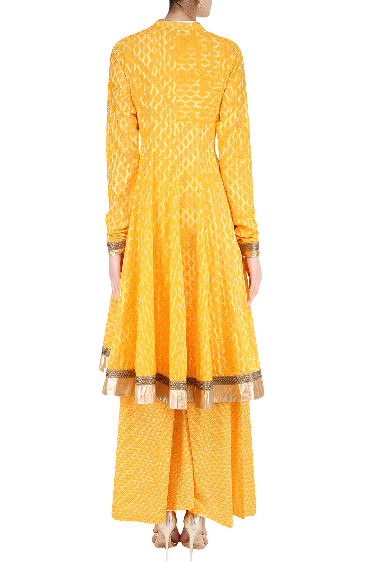 Yellow Angrakha Style Anarkali Kurta and Sharara Pants Set by Surendri