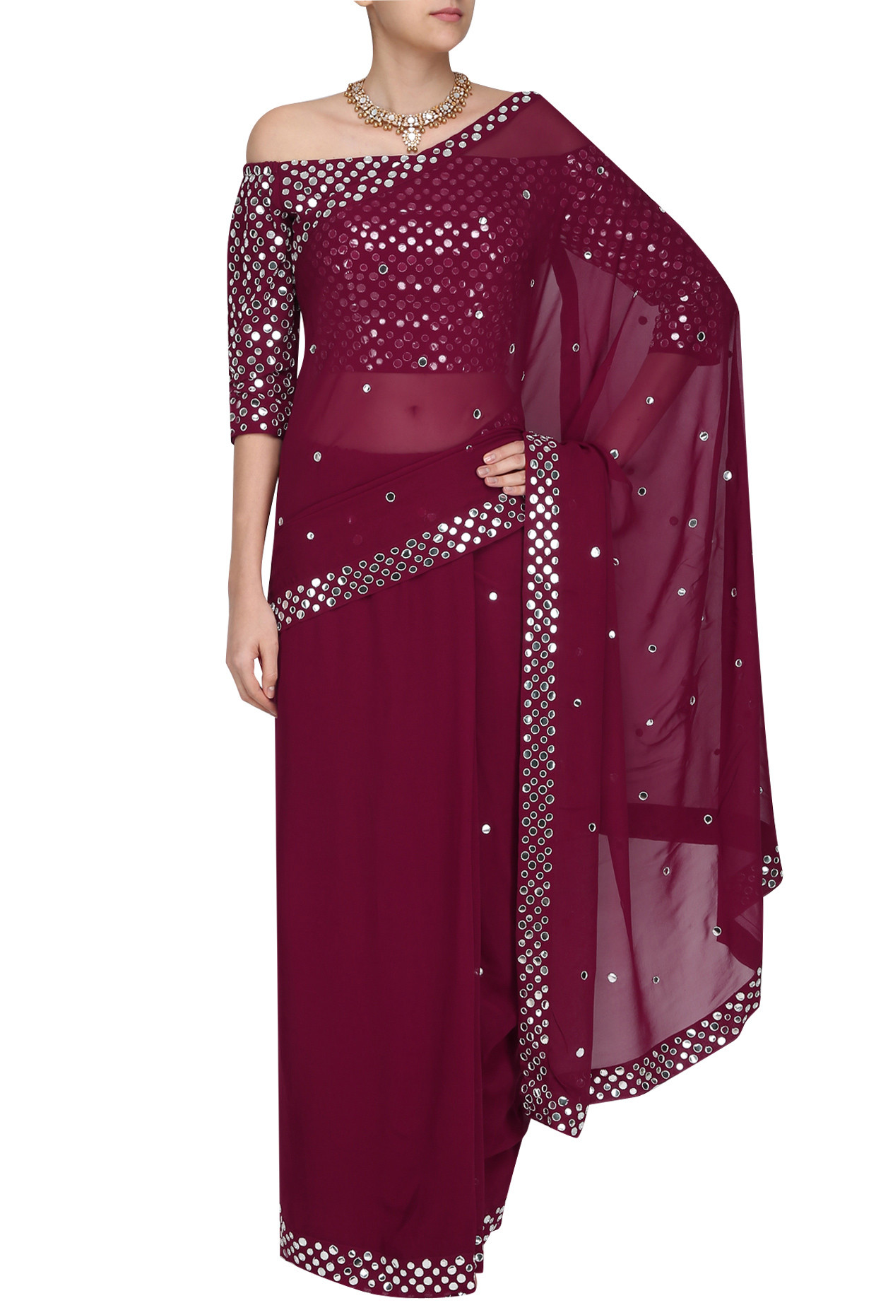 Maroon Hand Embroidered Saree with Off Shoulder Blouse by Surendri