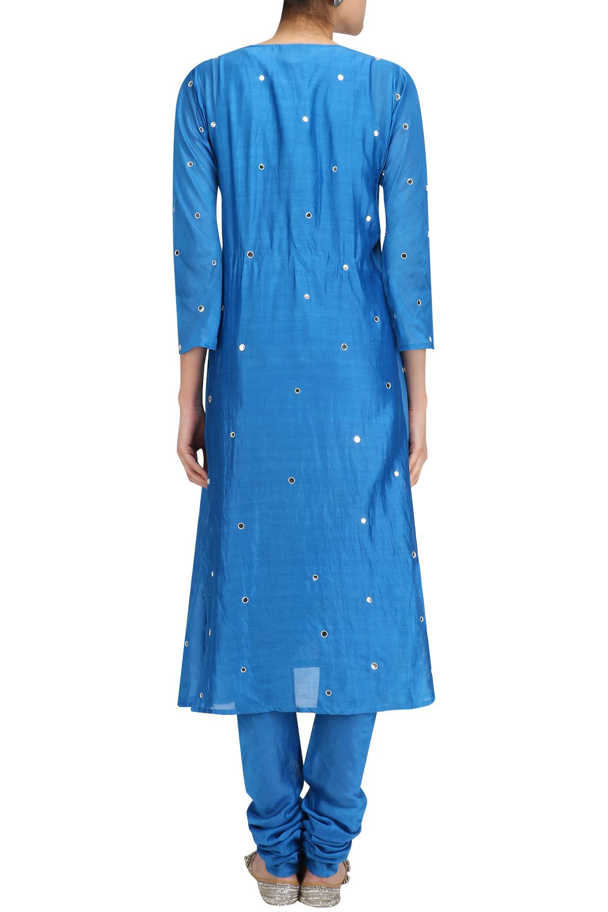 Turquoise Blue Dots Embroidered Straight Kurta Set by Surendri