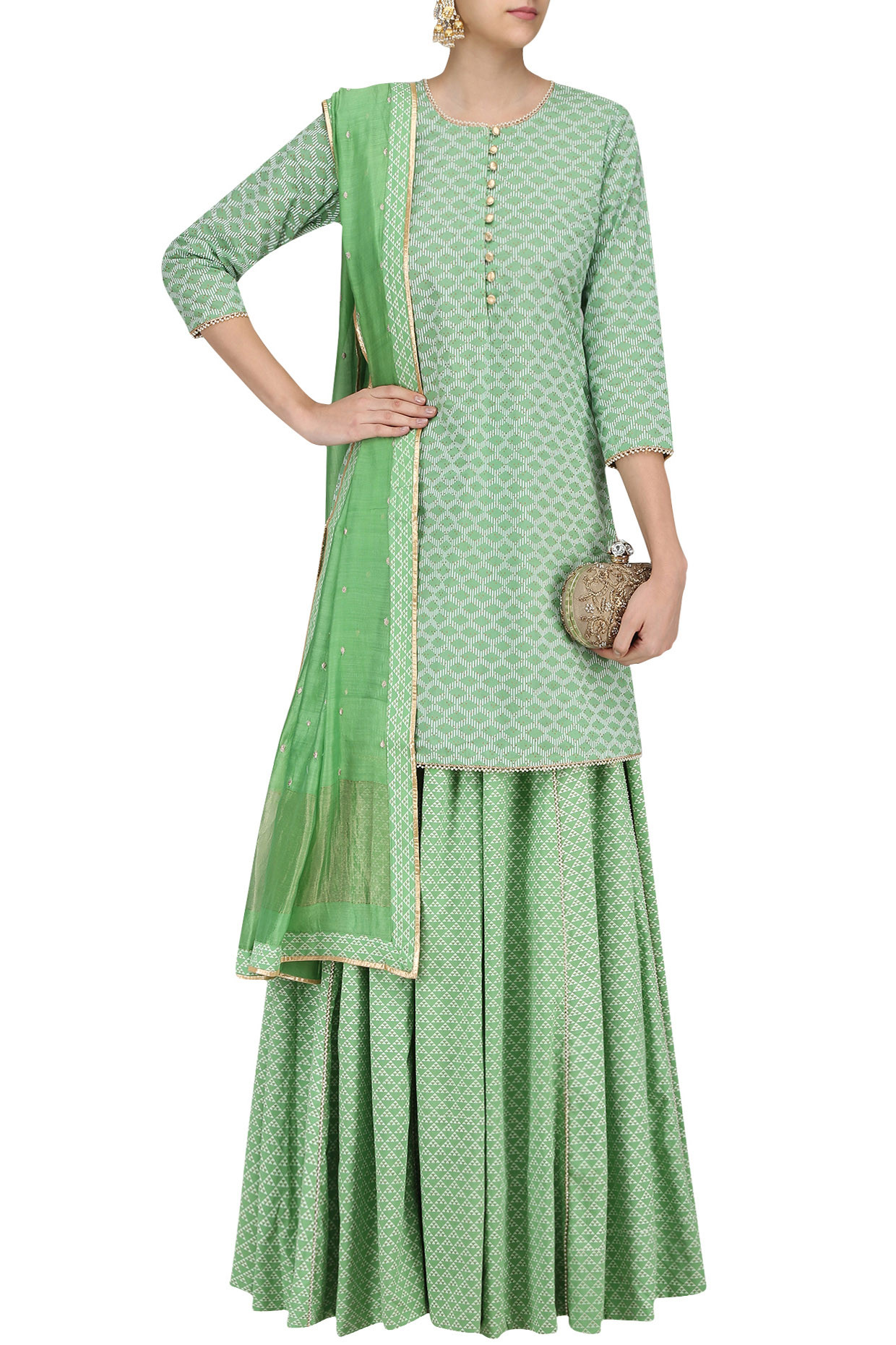 Green Pearl Embroidered Short Kurta and Skirt Set by Surendri