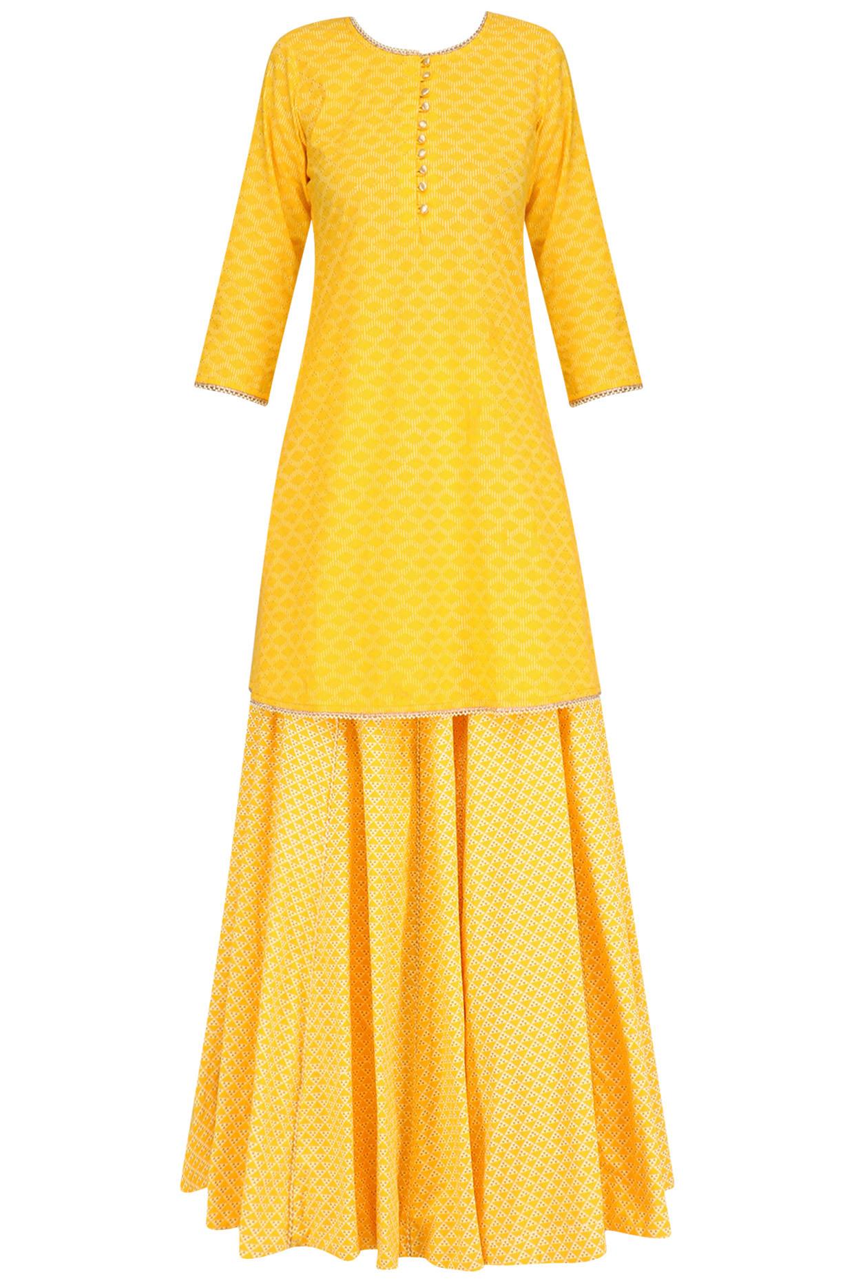 Yellow Pearl Embroidered Short Kurta and Skirt Set by Surendri