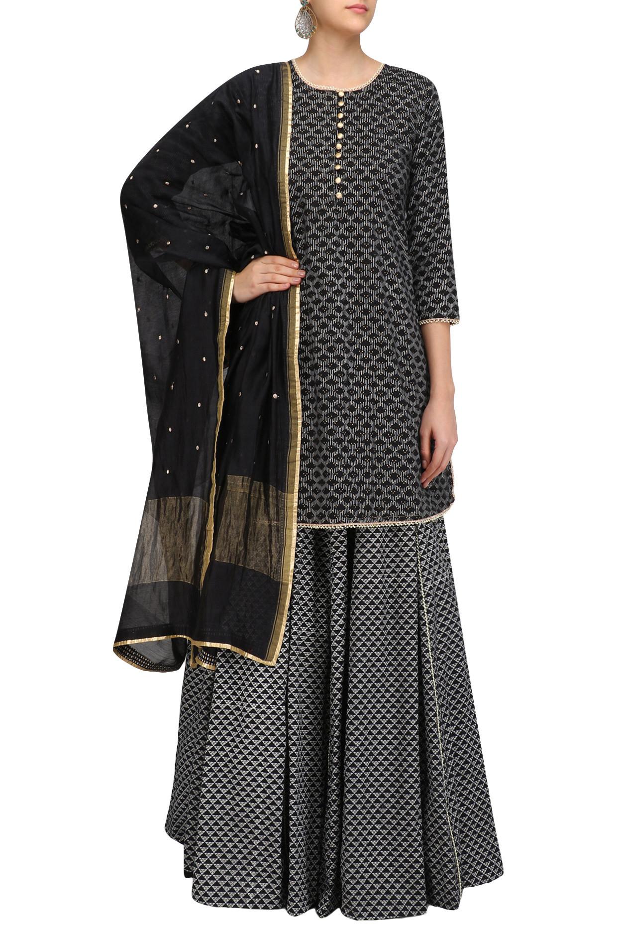 Black Pearl Embroidered Short Kurta and Skirt Set by Surendri
