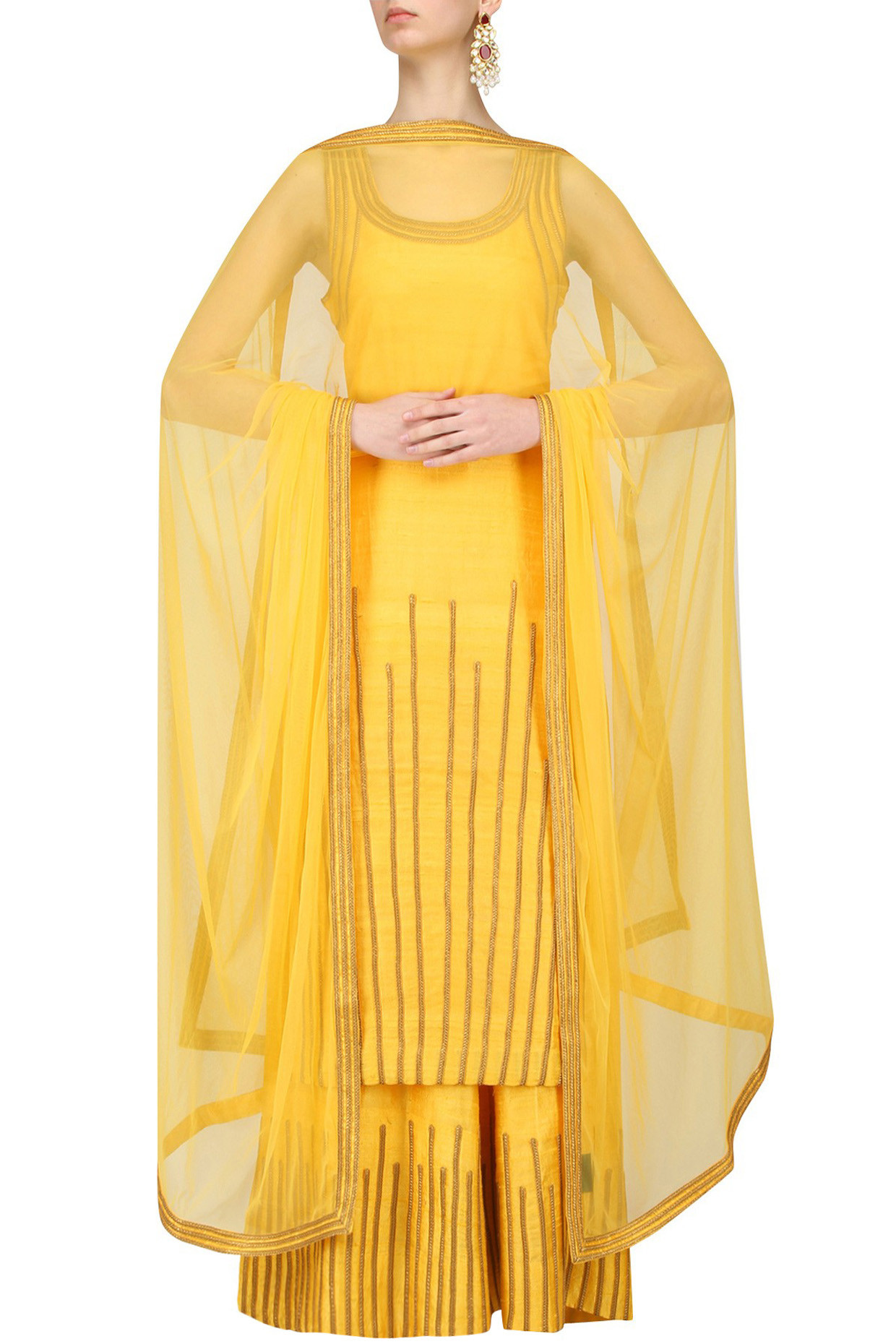 Yellow and Gold Lace Work Kurta and Sharara Pants Set by Surendri