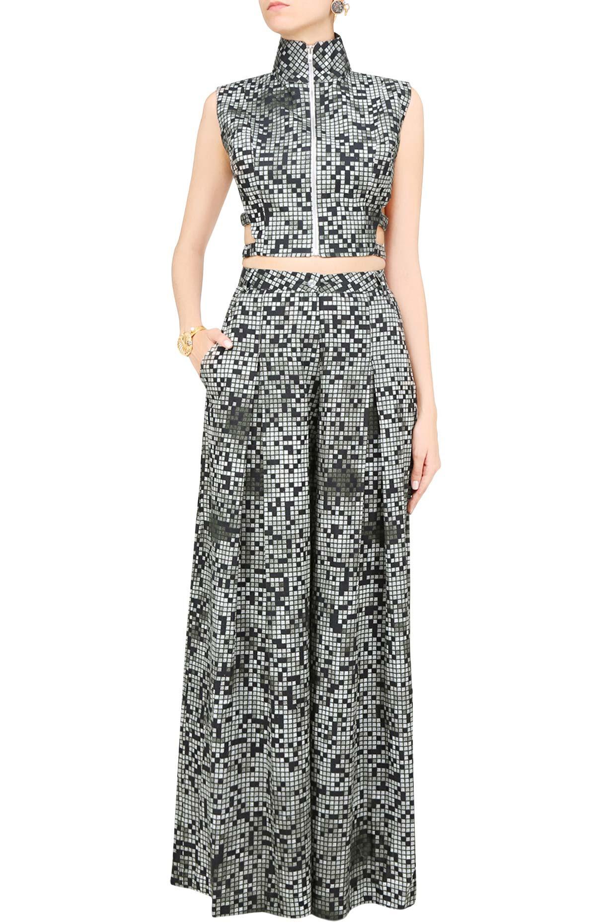Grey Pixel Printed Crop Top and Pants Set by Surendri