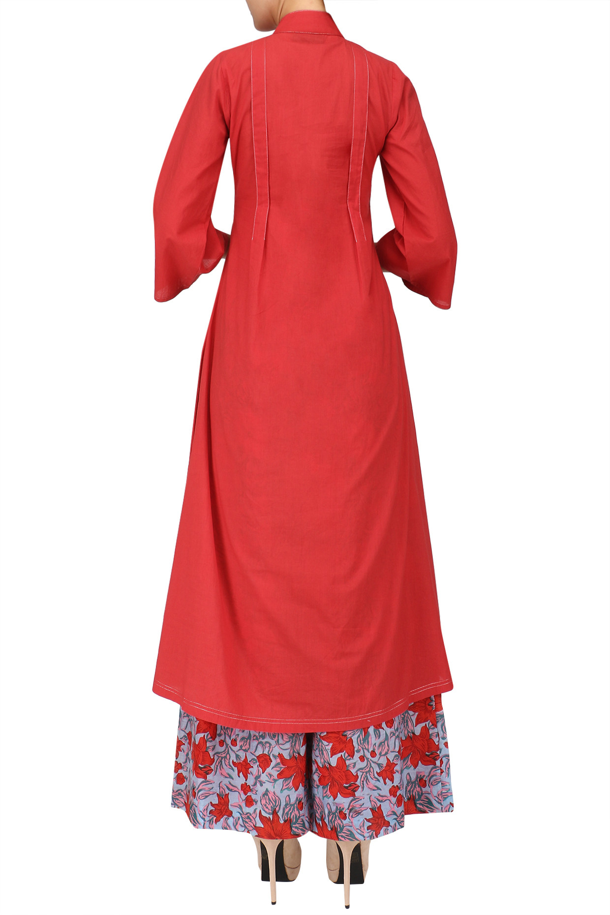 Red and Blue Floral Print Embroidered Flared Kurta Set by Surendri
