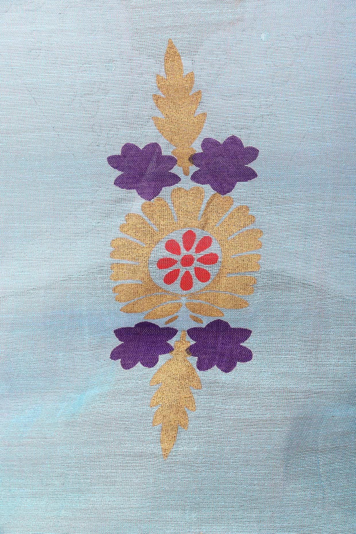 Powder Blue Hand Printed Anarkali Set by Surendri