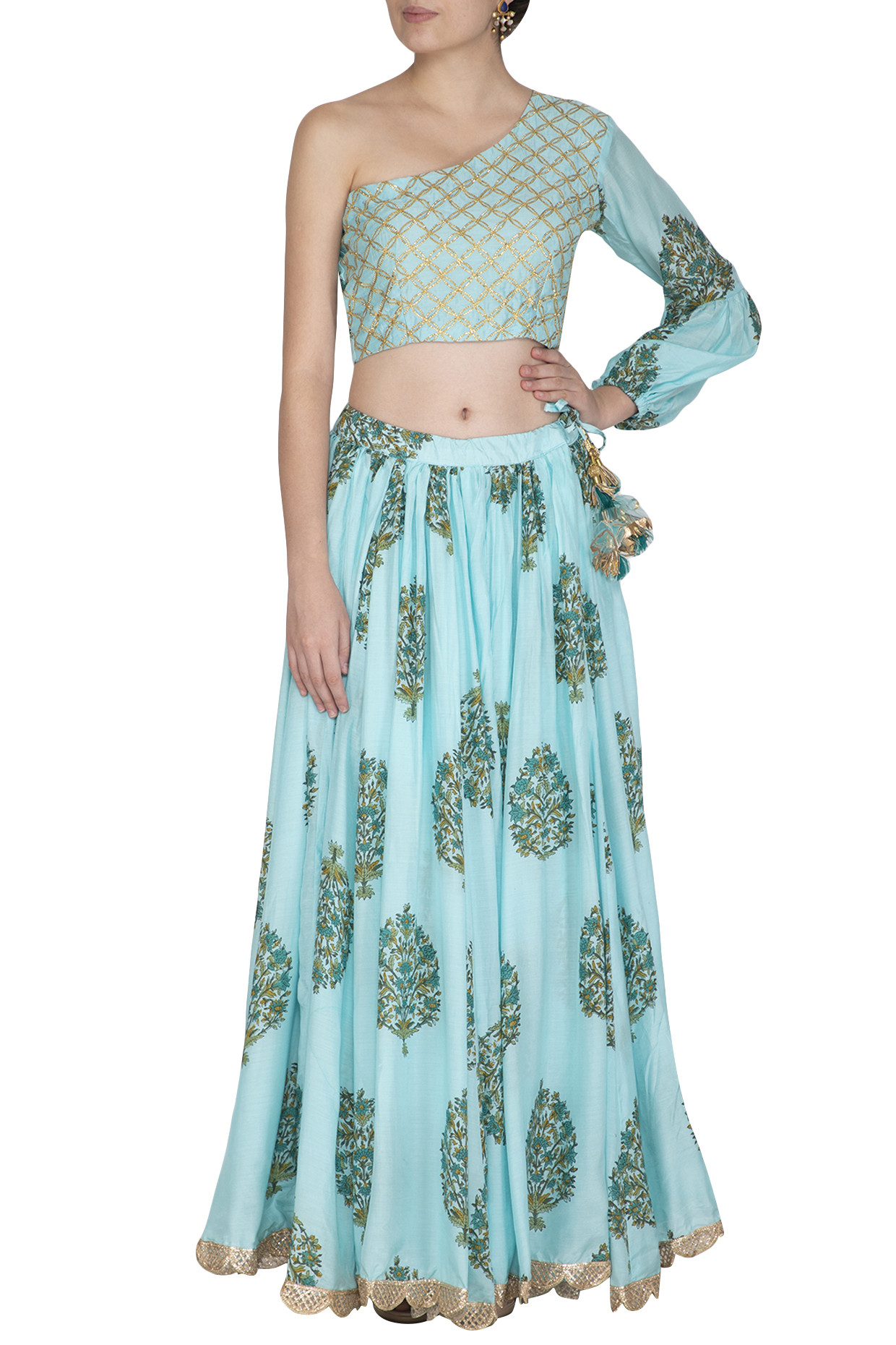 Blue Block Printed One Shoulder Top With Skirt by Yuvvrani Jaipur