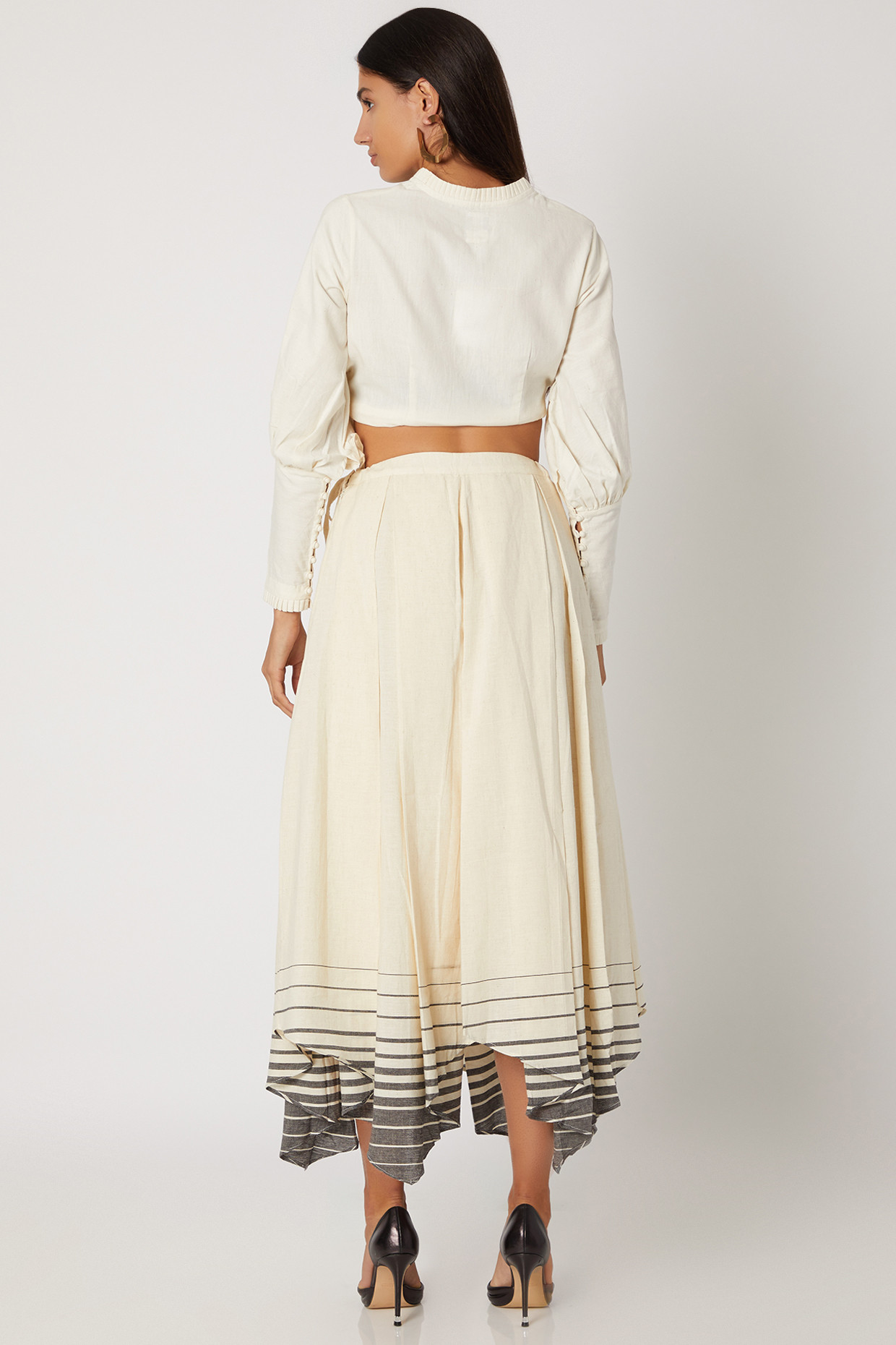 Off White Handkerchief Skirt With Pleats by Avadh