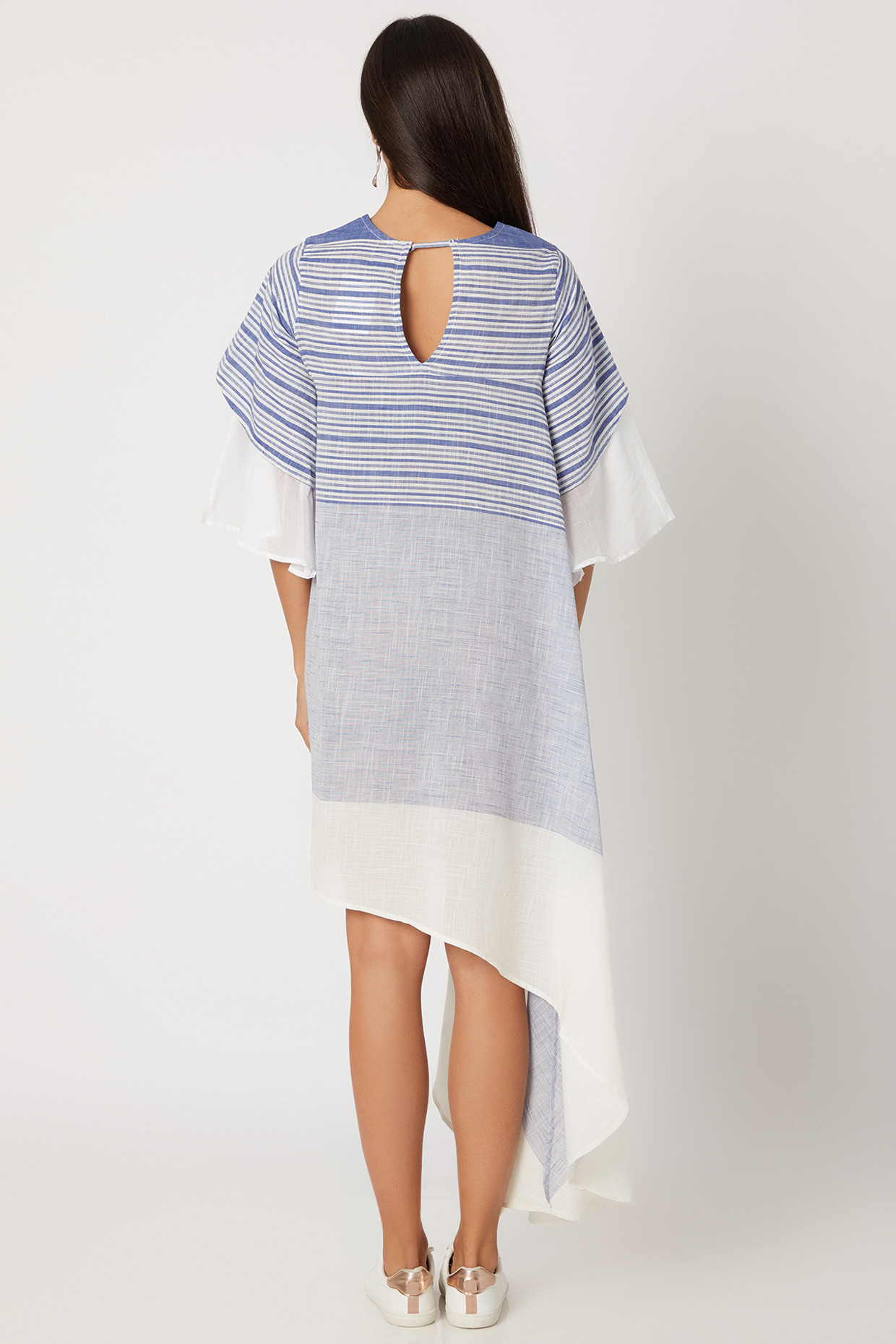 Blue Cotton Stripe Asymmetric Dress With Bell sleeves by Avadh