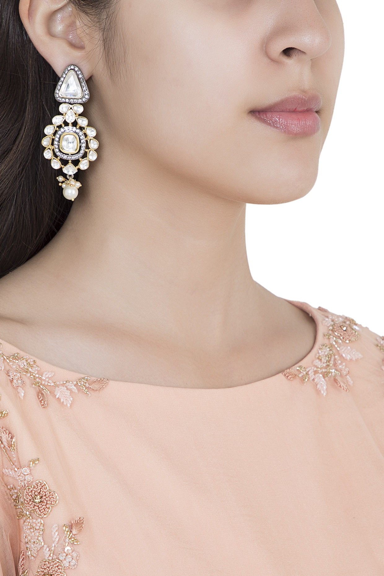Yellow Rhodium Plated Faux Polki Dangler Earrings by Aster
