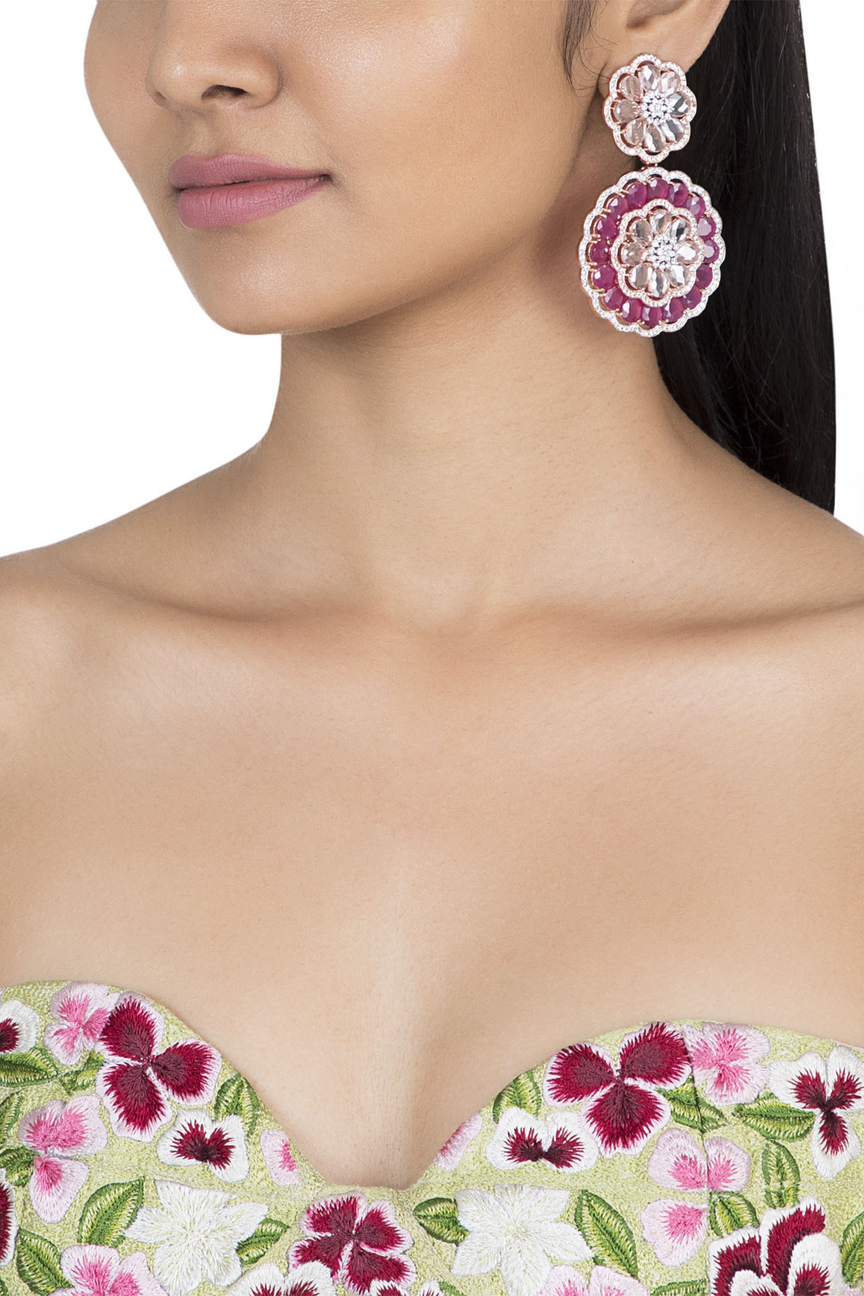 Gold plated faux diamond and ruby earrings by Aster