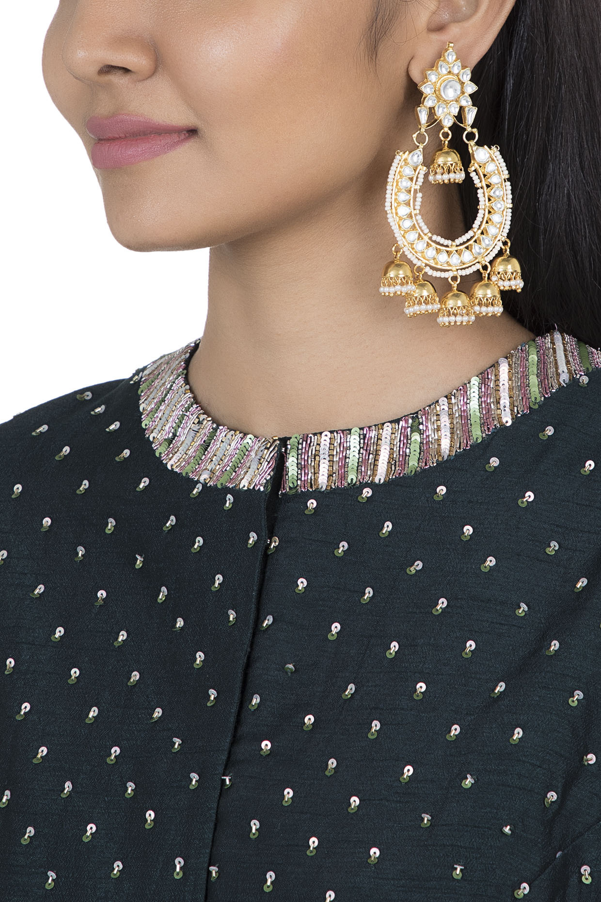 Gold plated faux kundan chandbali earrings by Aster