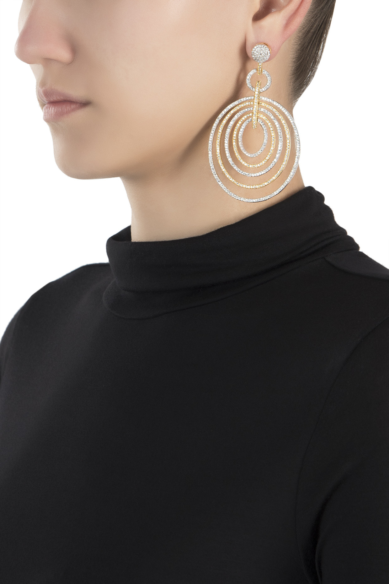 Gold and silver plated diamond multi circle earrings by Aster