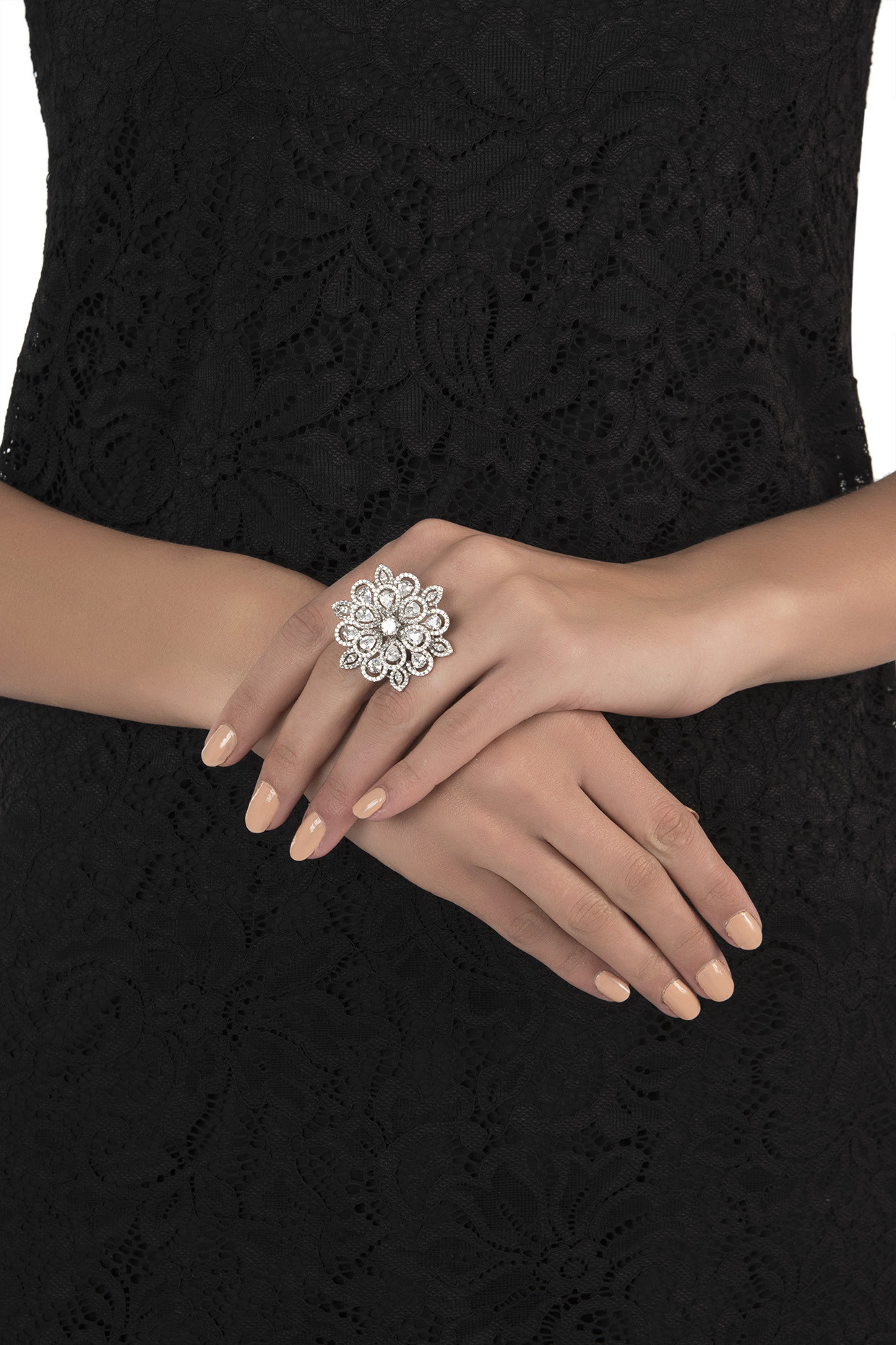 White rhodium plated floral diamond ring by Aster
