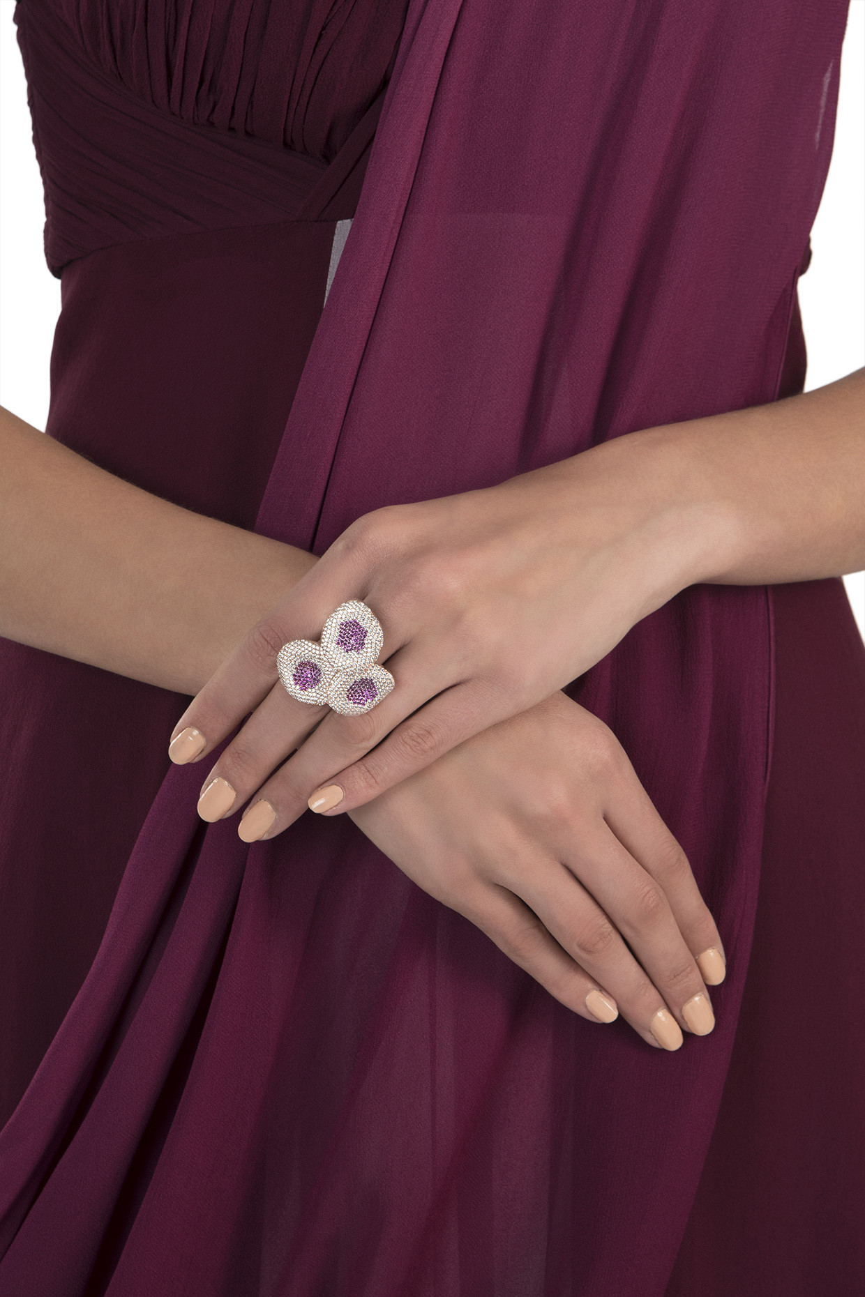 Rose gold plated diamond and ruby ring by Aster