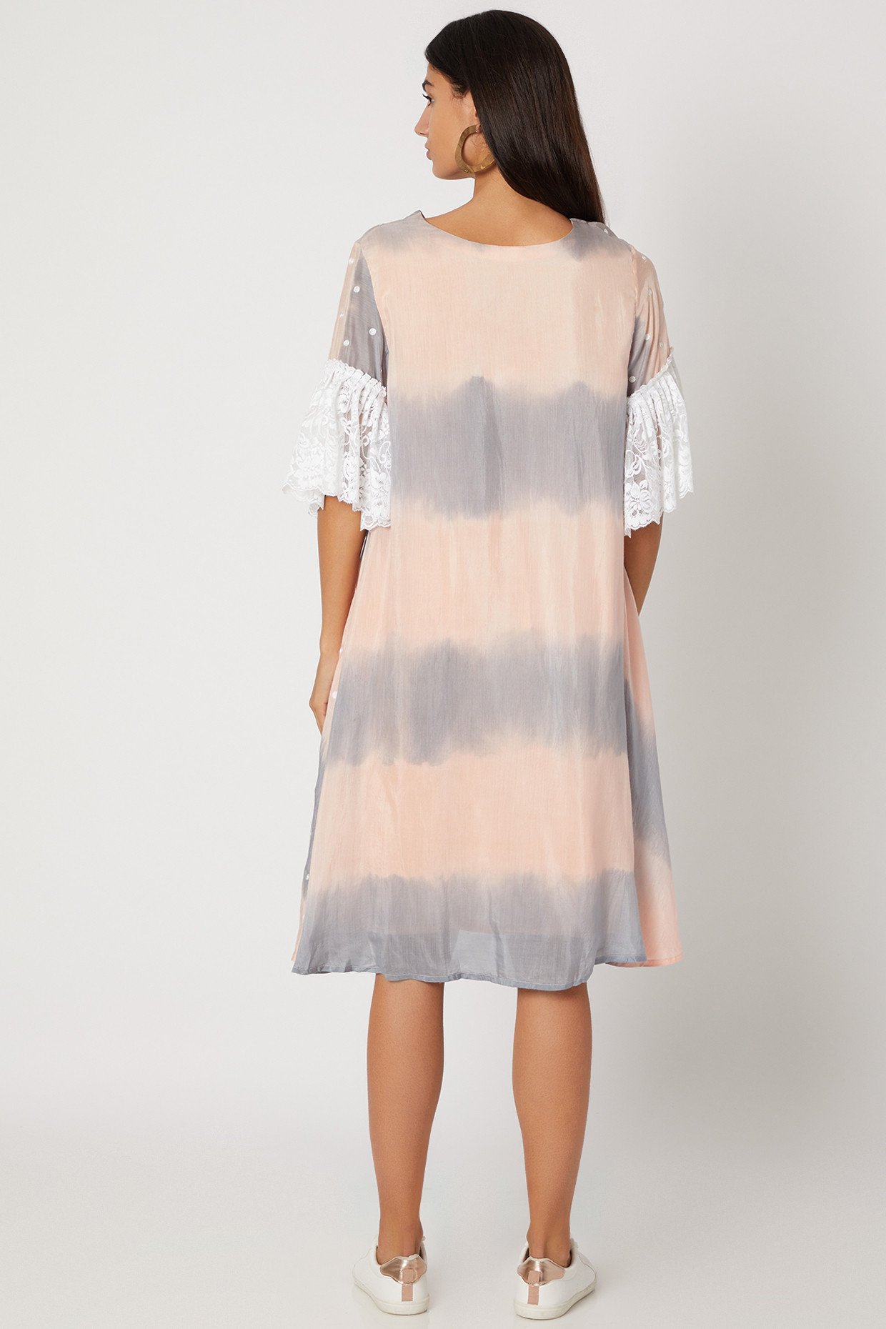 Peach & Grey Handwoven Dress With Polka Dots by Avadh