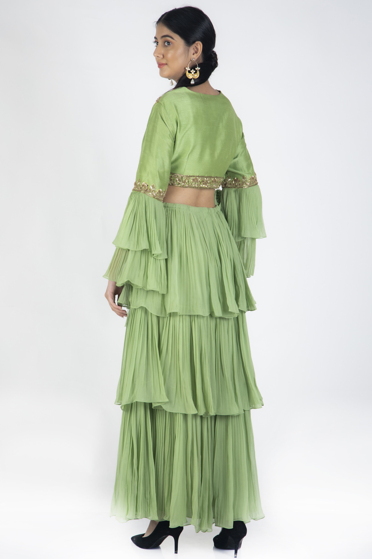 Sage Green Lehenga Set With Coral Brocade Dupatta by Casa 9