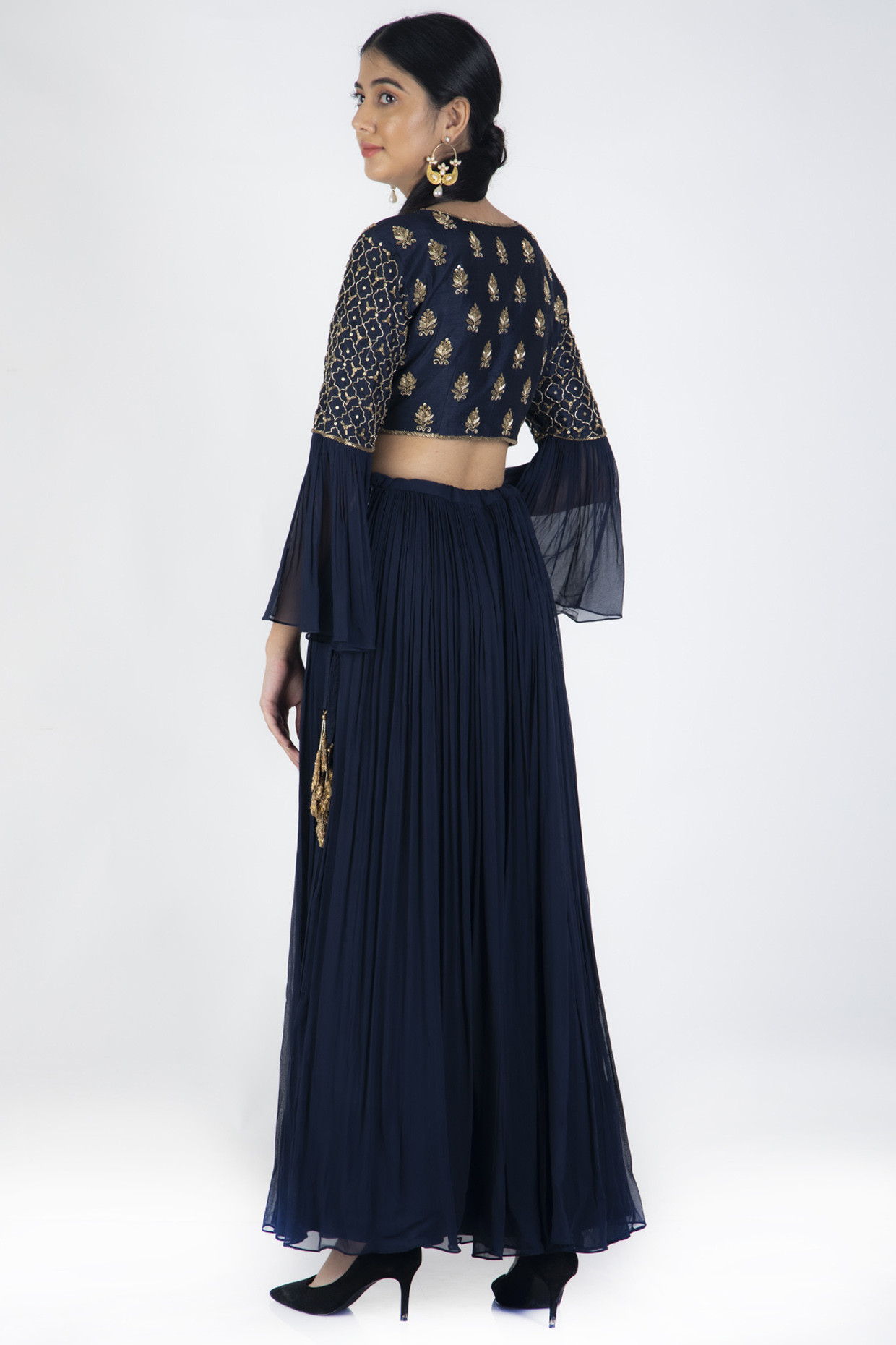 Navy Blue Lehenga Set With Peach Brocade Dupatta by Casa 9
