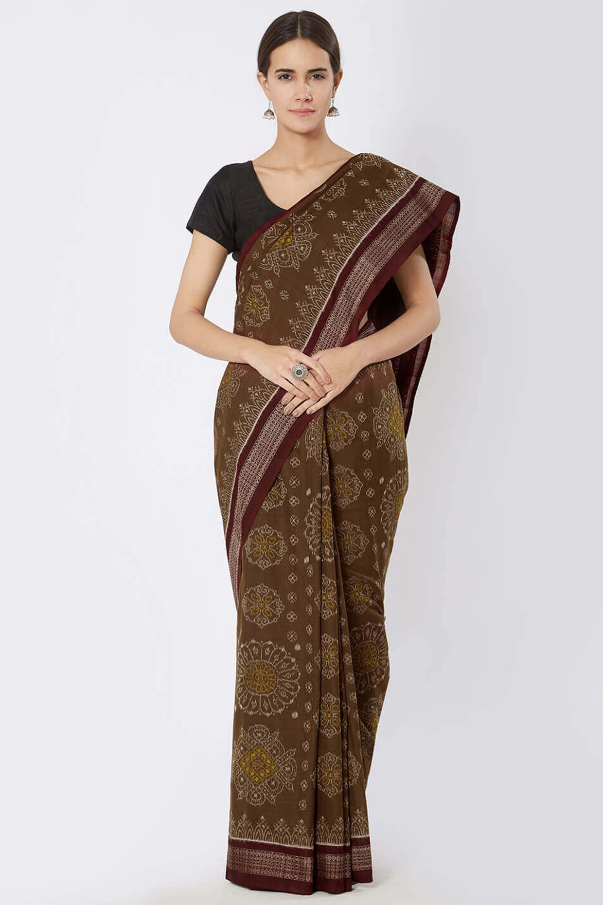 Brown And Maroon Sambalpuri Ikat Cotton Saree by Crafts Collection
