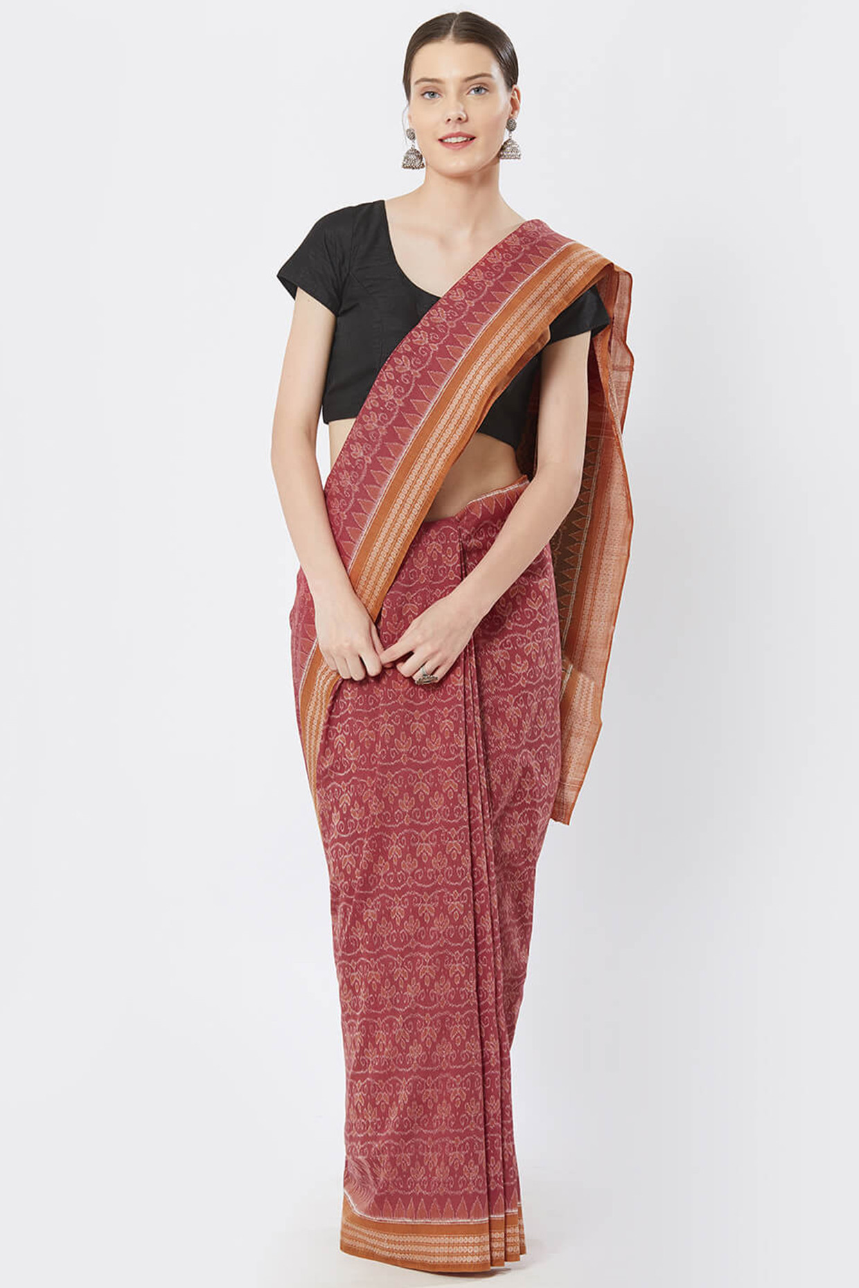 Pink And Rust Sambalpuri Bomkai Cotton Saree by Crafts Collection