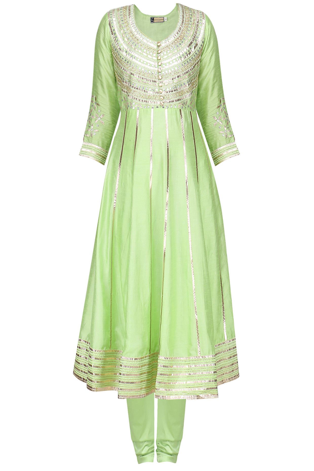 Green Embroidered Angarakha Kurta with Churidar Pants by Gopi Vaid
