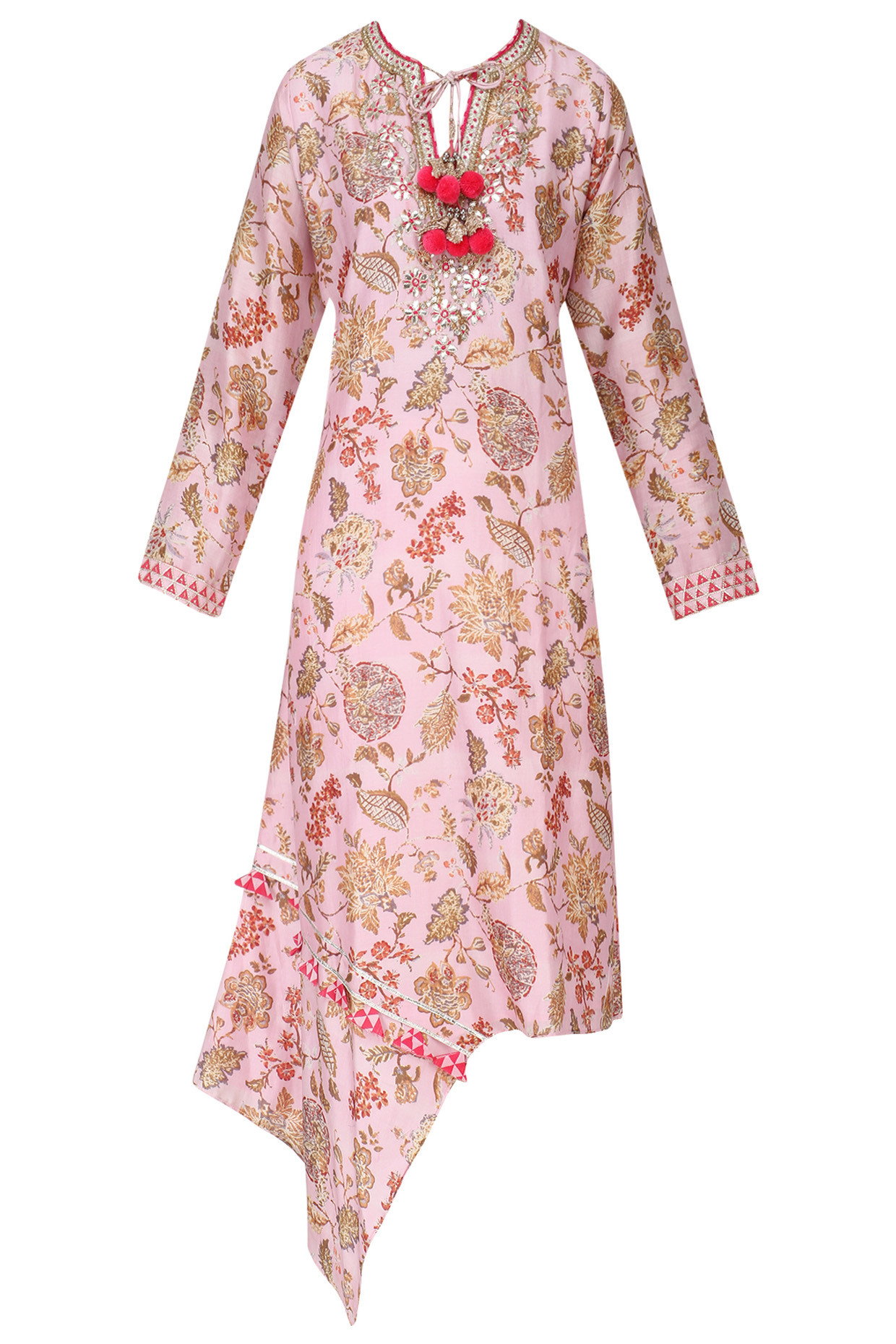 Rose Pink Floral Print Embroidered Kurta by Gopi Vaid