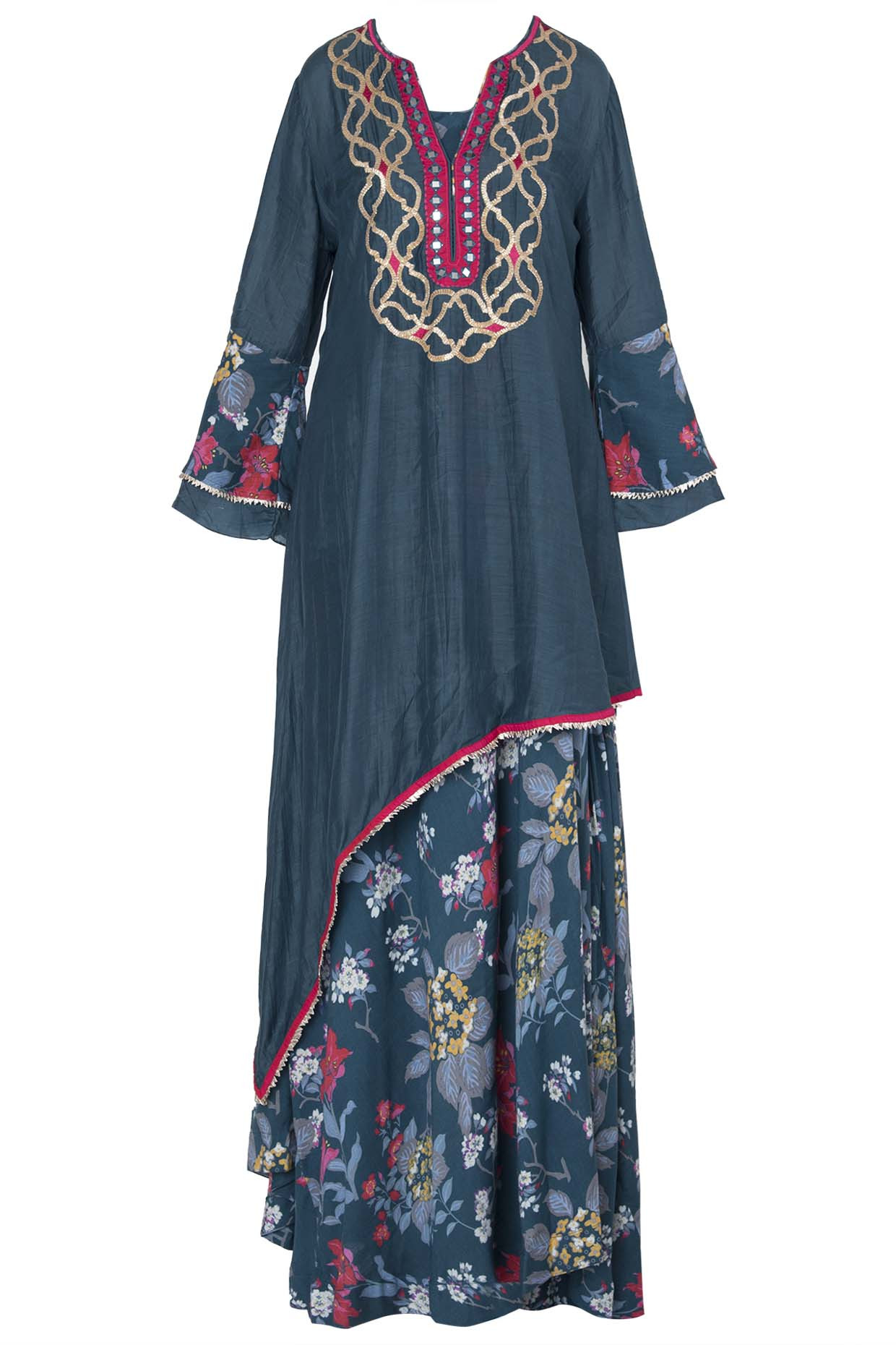 Teal High Low Embroidered and Printed Kurta Set by Gopi Vaid