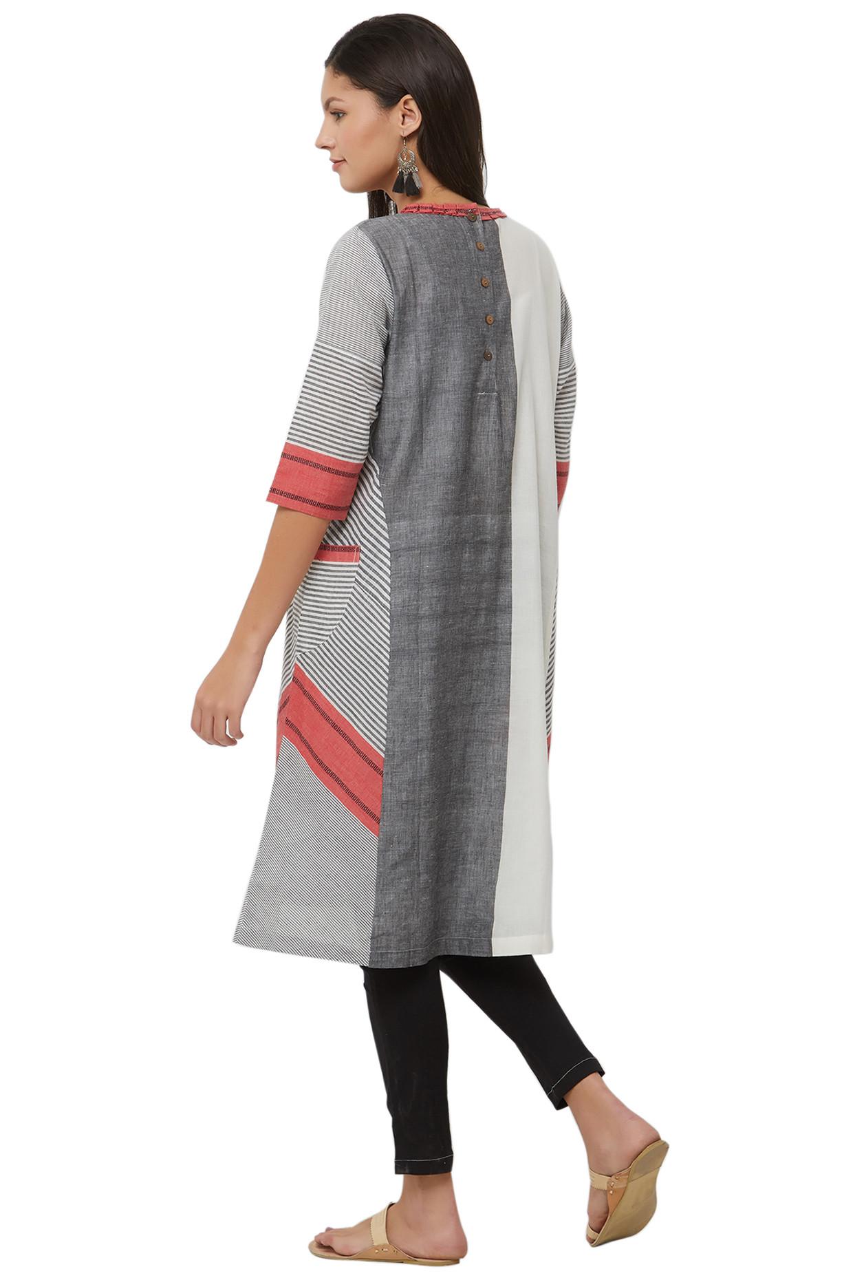 White & Grey Kurti In Handloom Cotton by House Of Idar