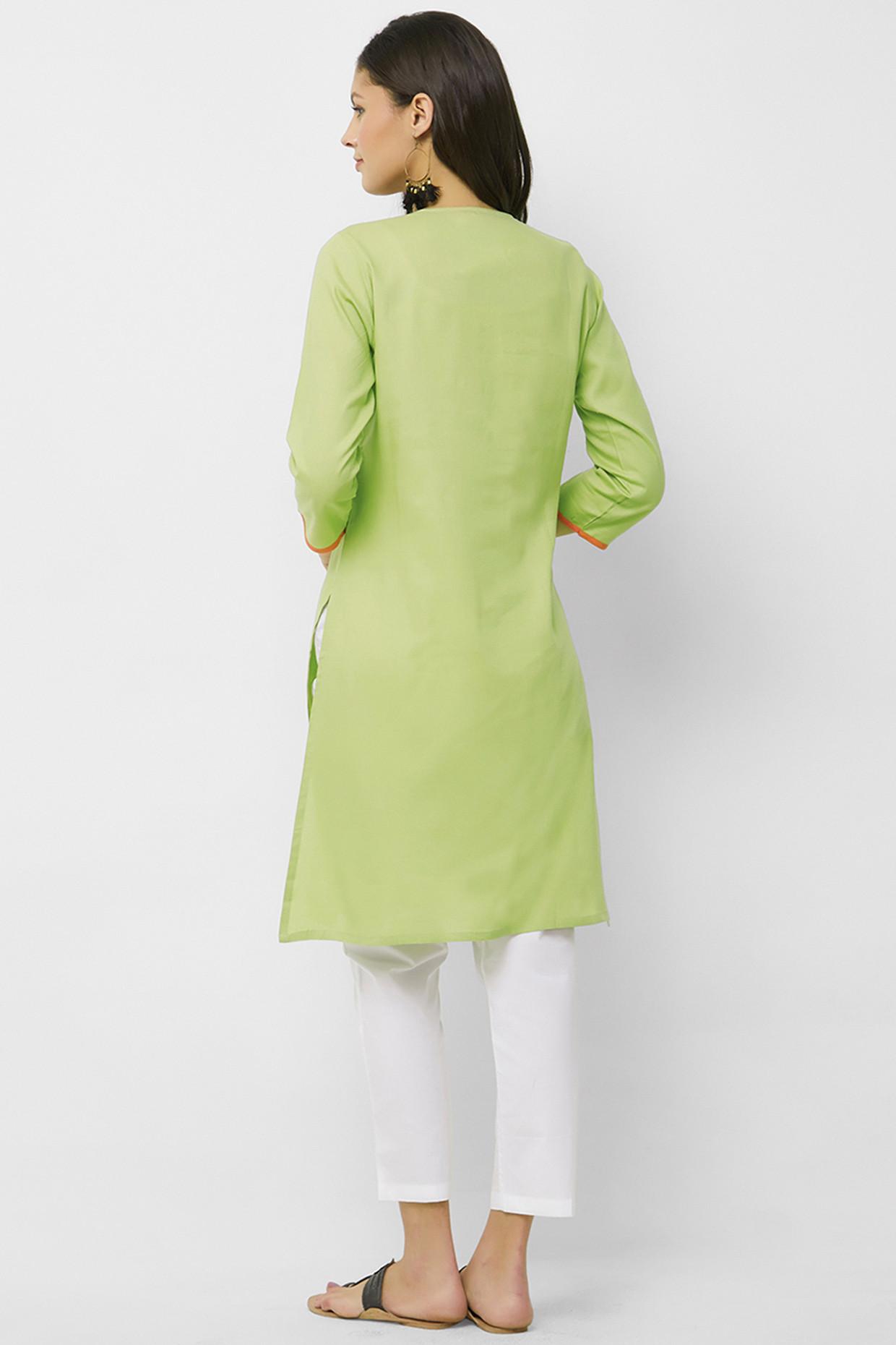 Earthy Olive Toned Kurti In Handloom Cotton by House Of Idar