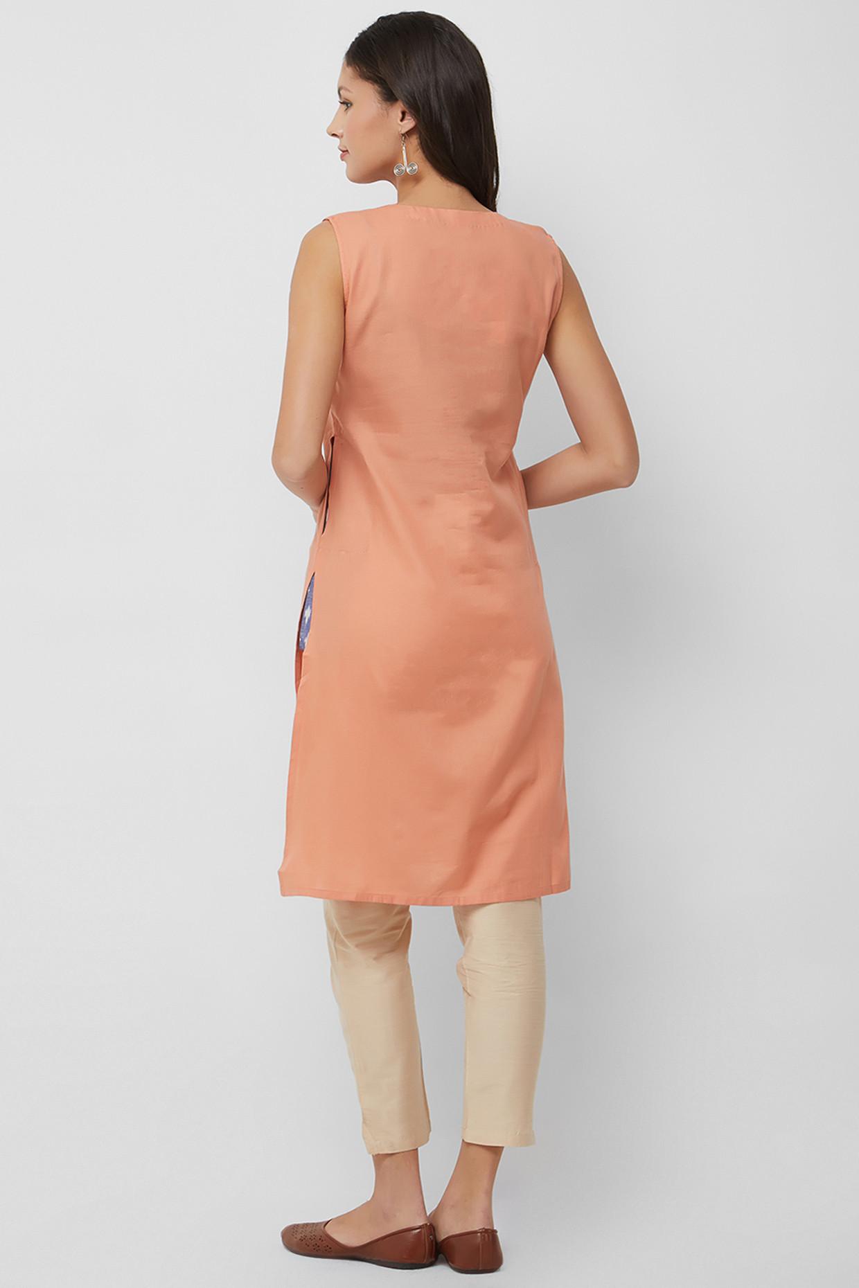Summer Handloom Cotton Kurti In Rose by House Of Idar