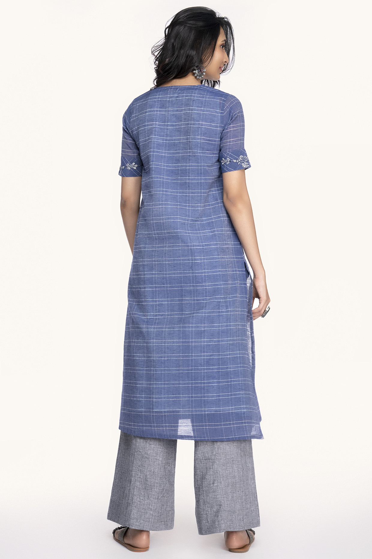 Pleated & Checked Chanderi Kurti In Blue by House Of Idar