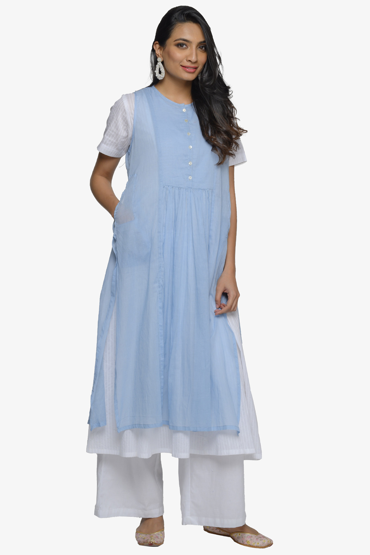 White Flared Cotton Kurta With Sleeveless Powder Blue Slip Dress by House Of Idar