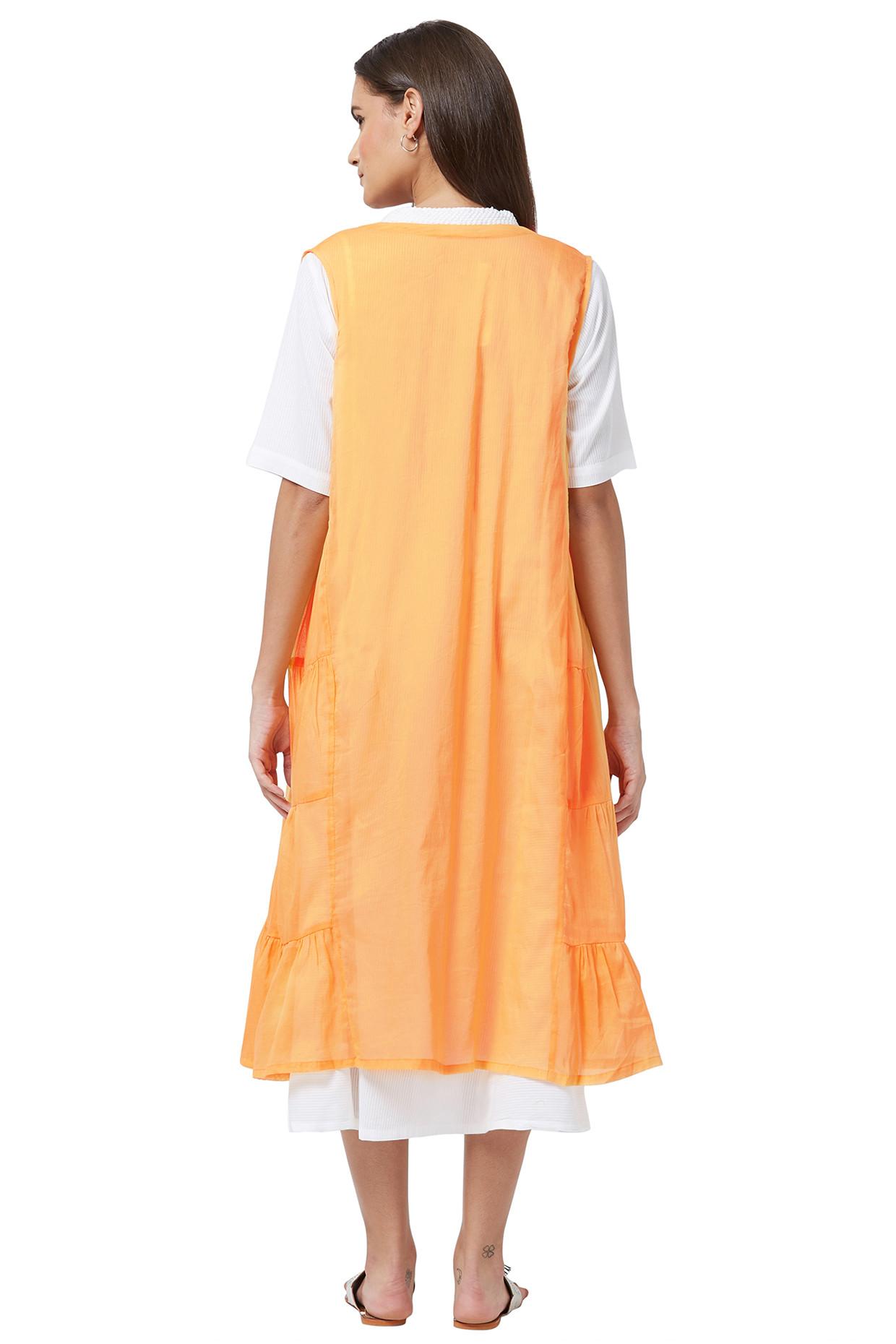 Flared Cotton Kurta With Yellow Sleeveless Slip Dress by House Of Idar