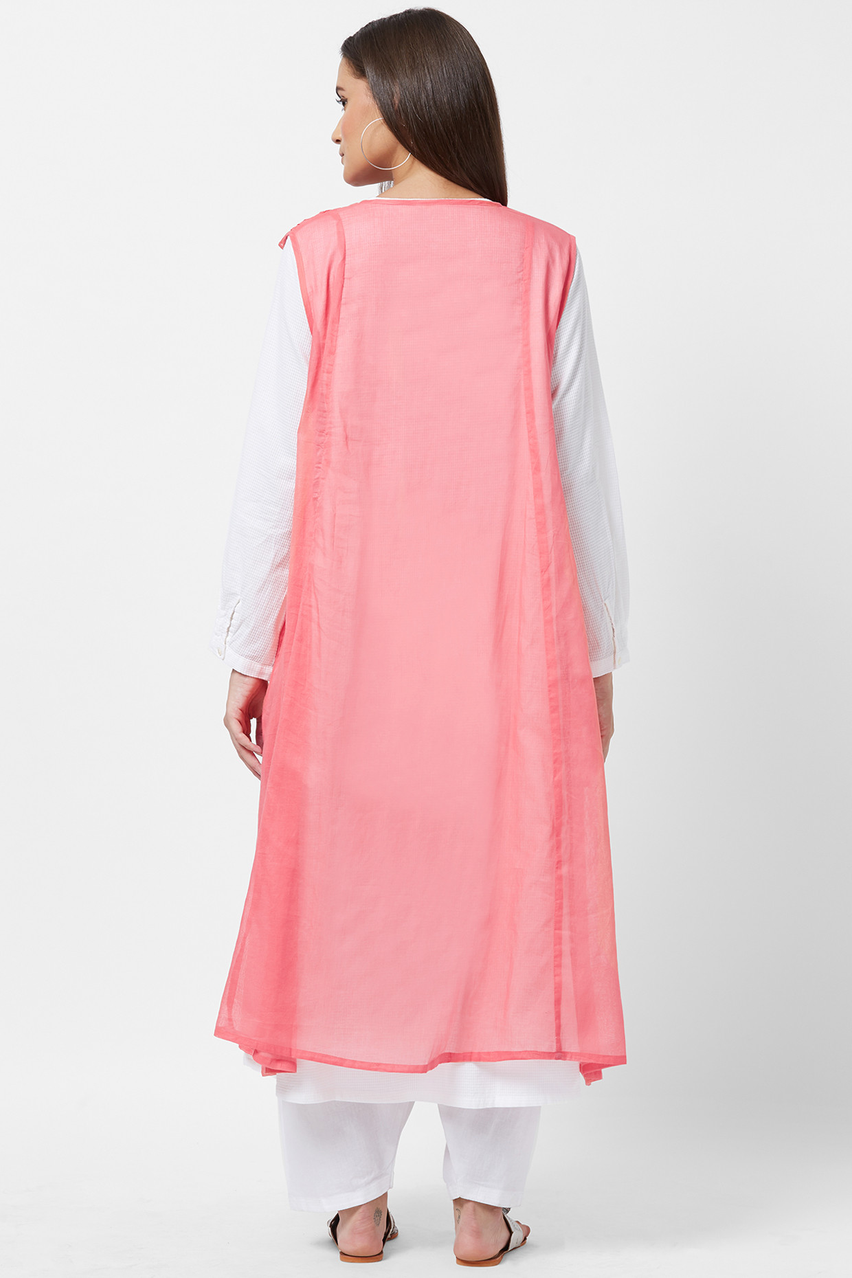 Cotton White Kurta With Red Sleeveless Slip Dress by House Of Idar