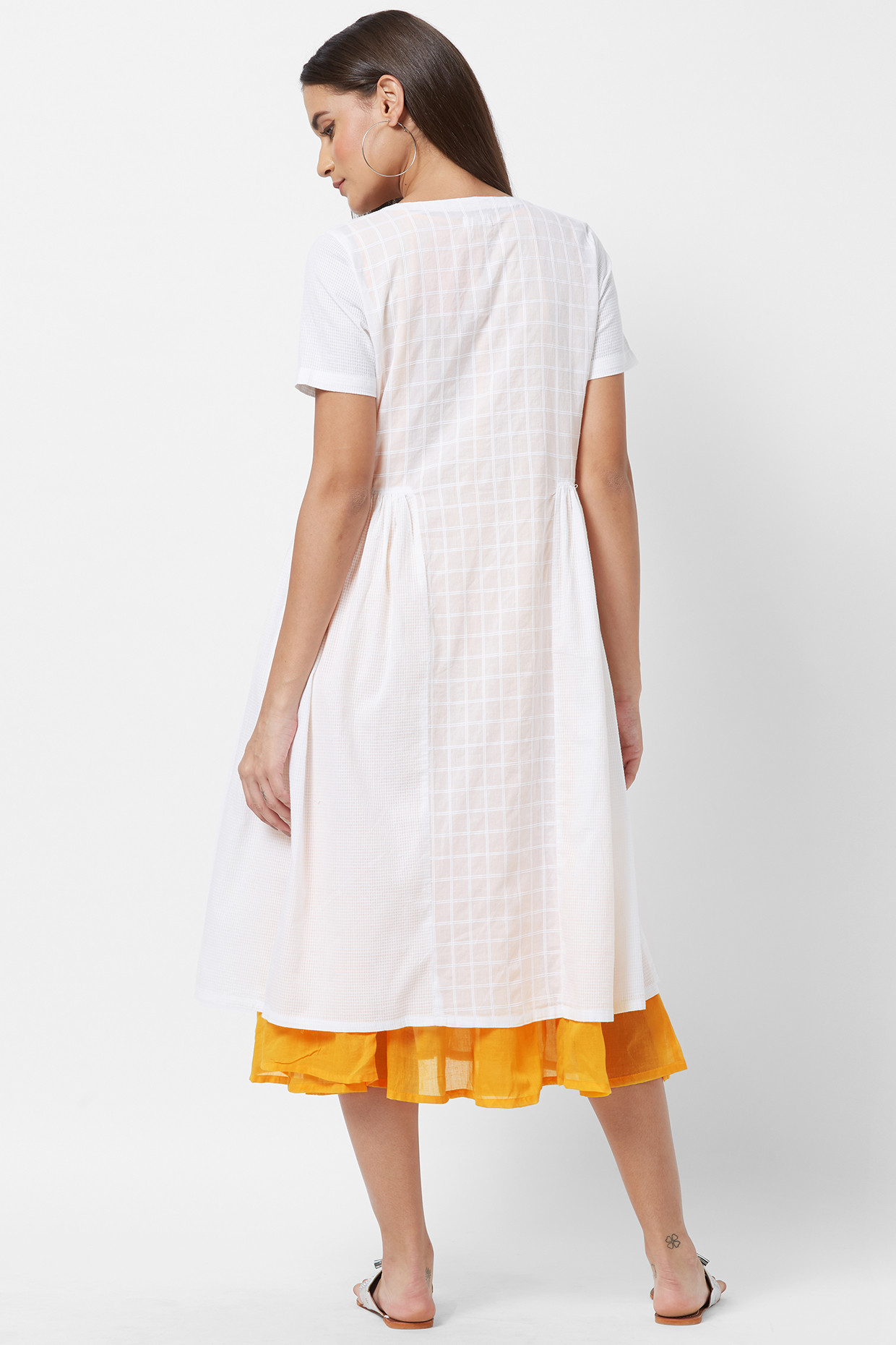 Yellow Slip & White Cotton A-line Kurta by House Of Idar