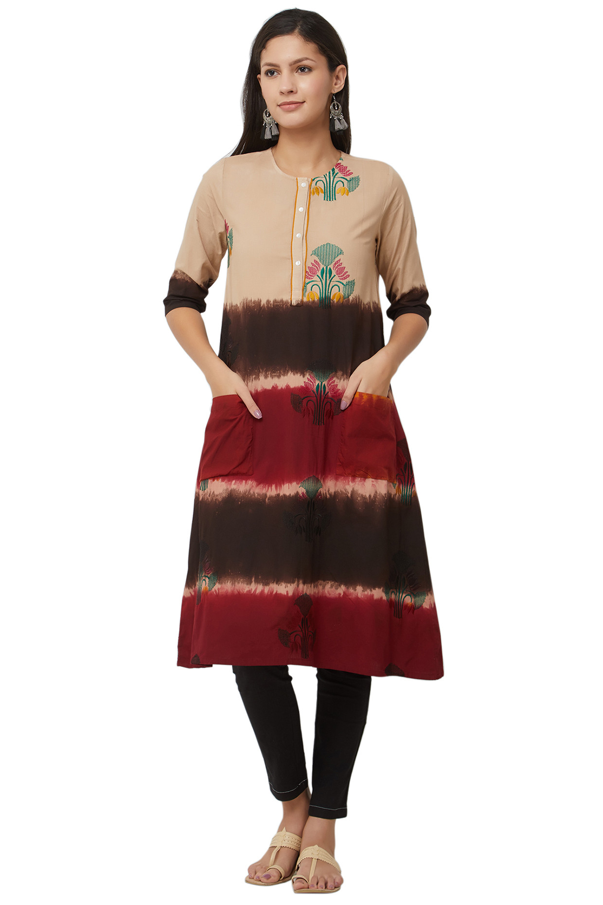 Multicolored Dip Dyed Berry Brown Cotton Kurti by House Of Idar