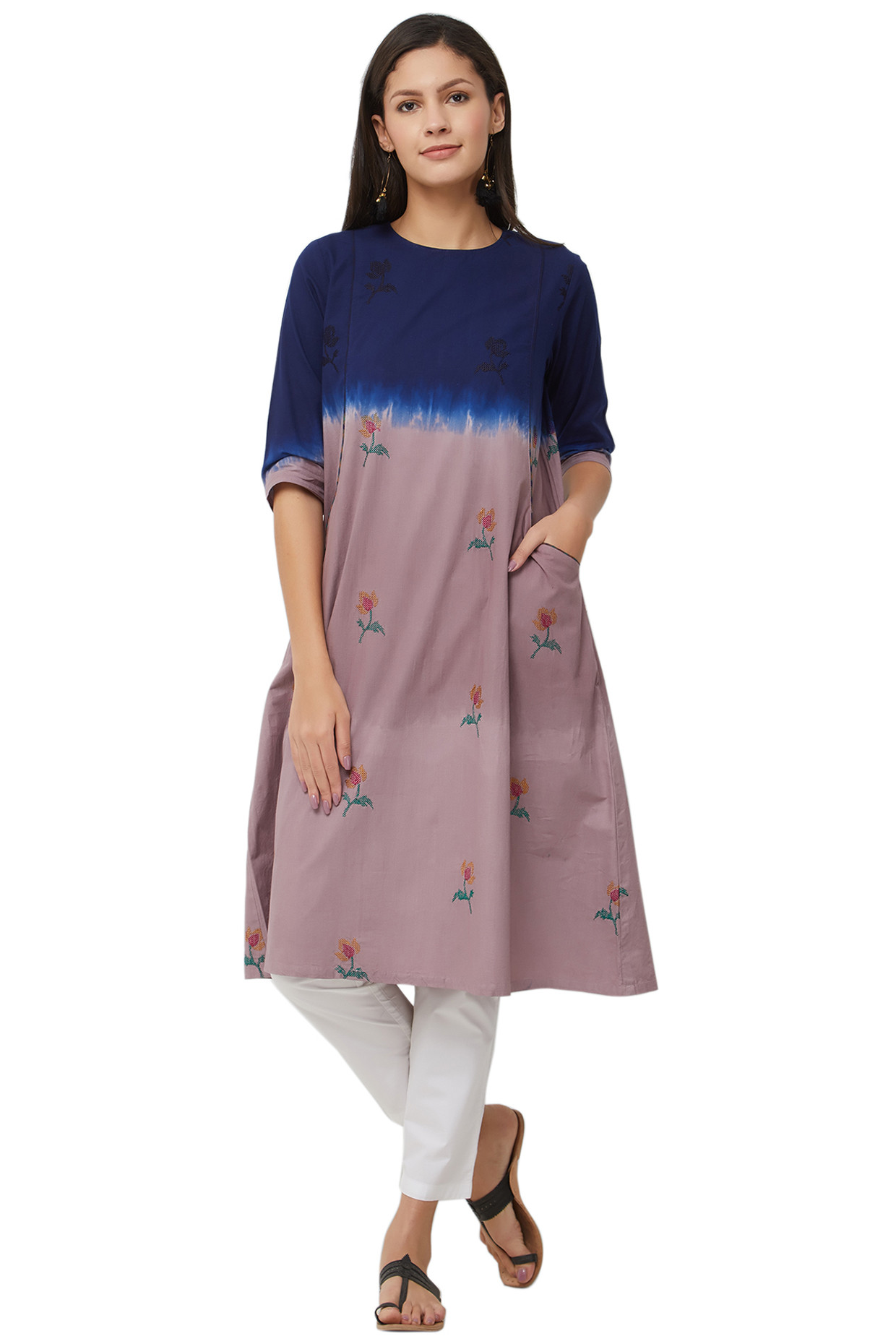 Multicolored Embroidered Tie Dye Kurti In Pure Cotton by House Of Idar