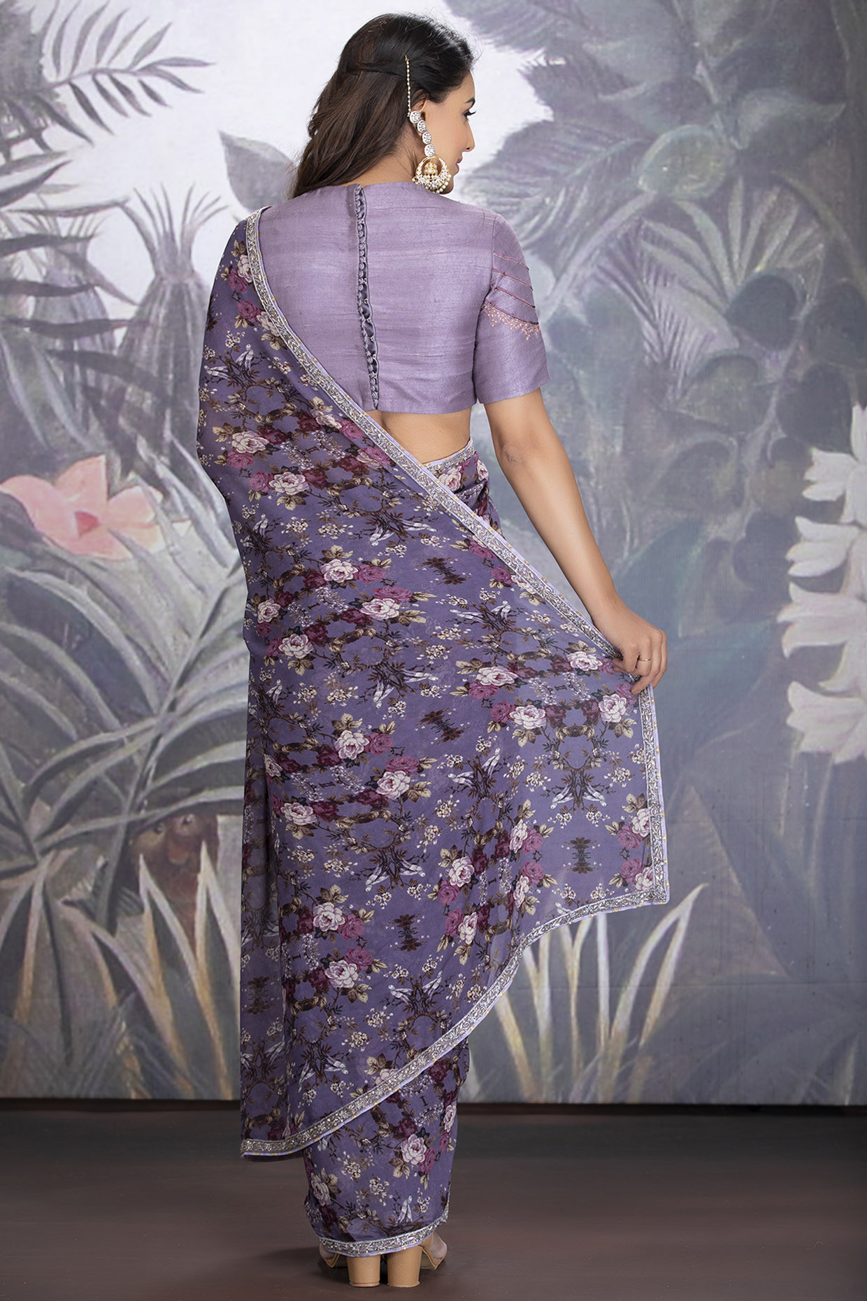 Heirloom Lilac Georgette Saree With Silk Blouse by  House of Tushaom