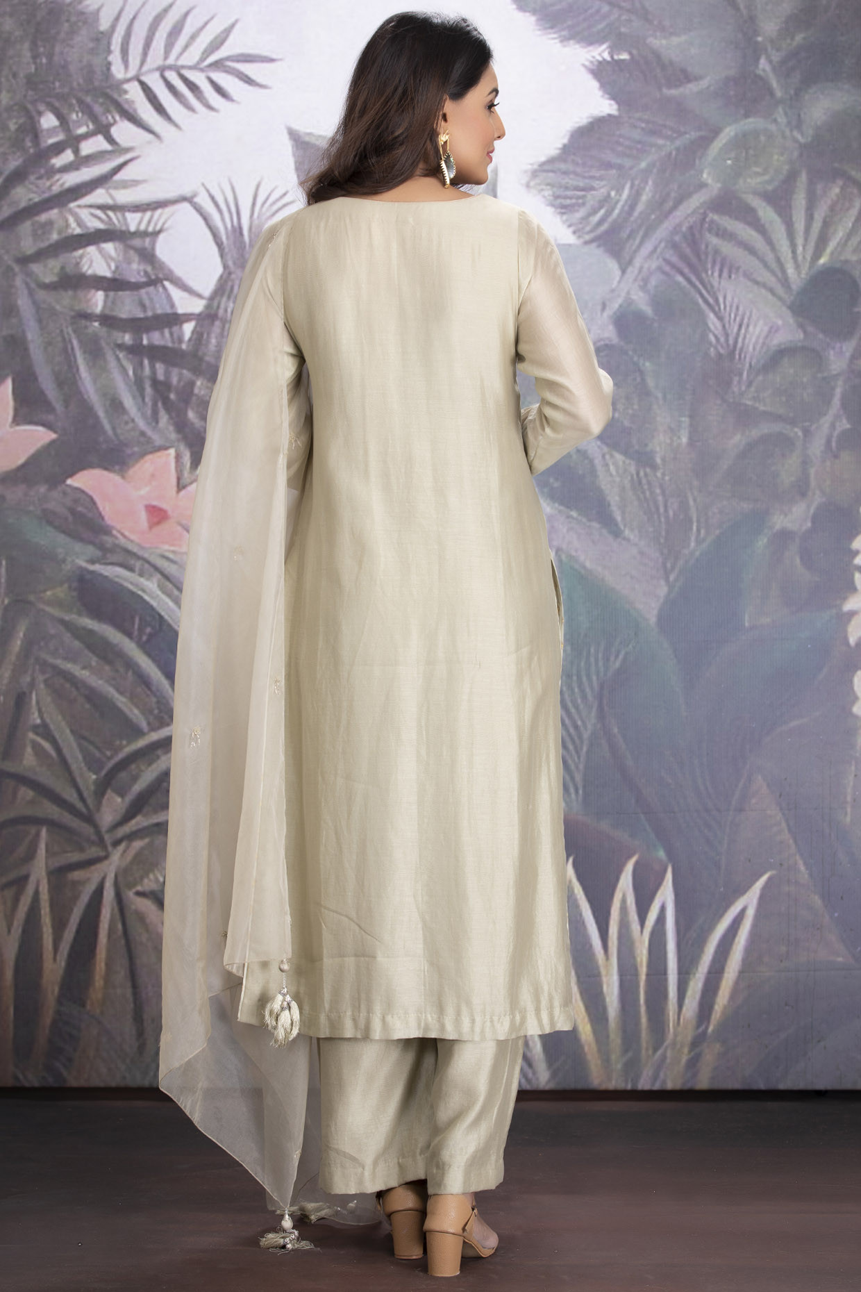 Baize Green Chanderi Silk Kurta Set With Dupatta by  House of Tushaom