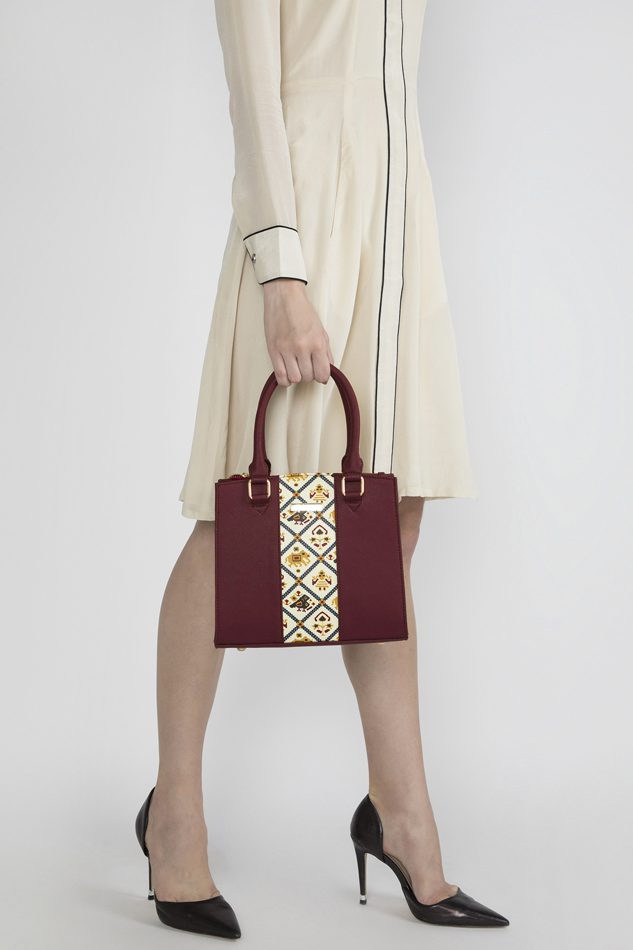 Maroon Satchel With Adjustable Strap by Imars