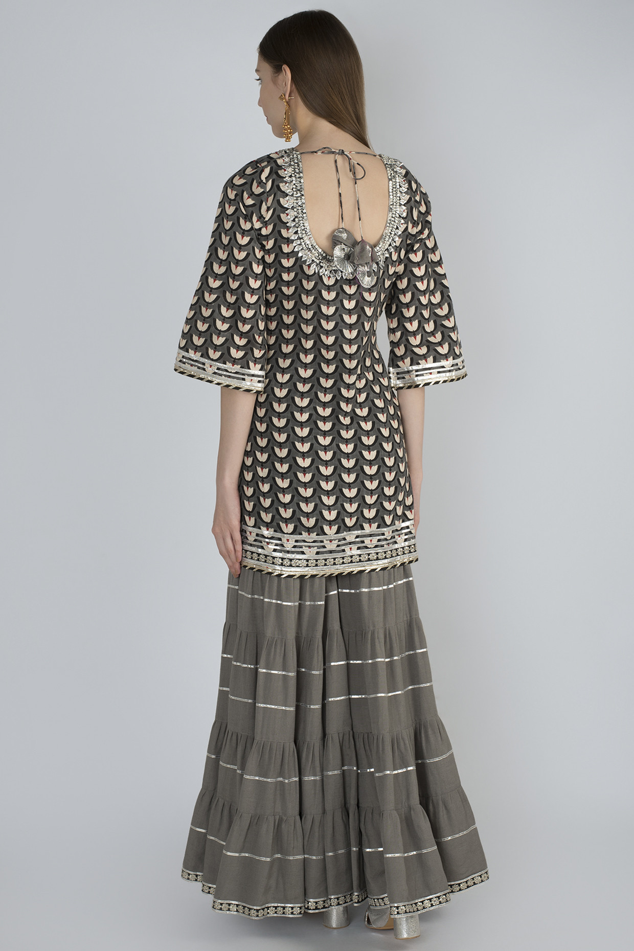 Grey Printed Kurta Sharara Set With Dupatta by Mariam Khan