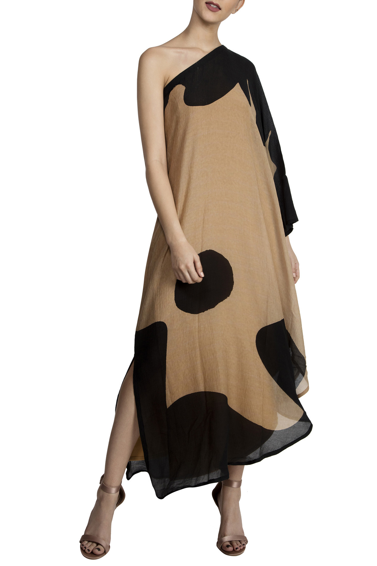 Black Splash Print One Shoulder Dress by Masaba