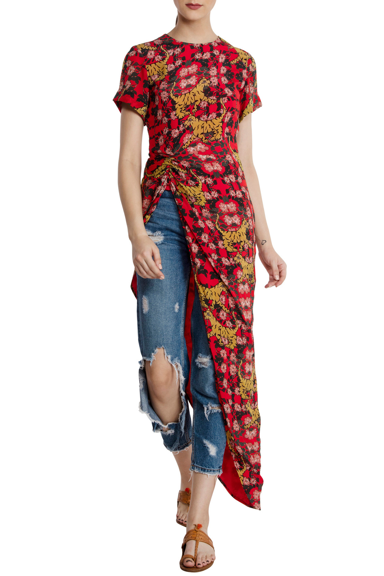 Red Tiger Lily Asymmetric Top by Masaba