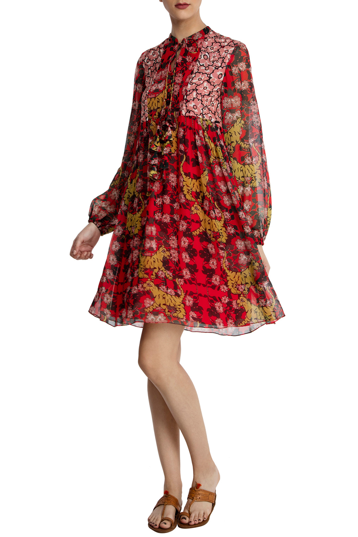 Red Tiger Lily Skater Dress by Masaba