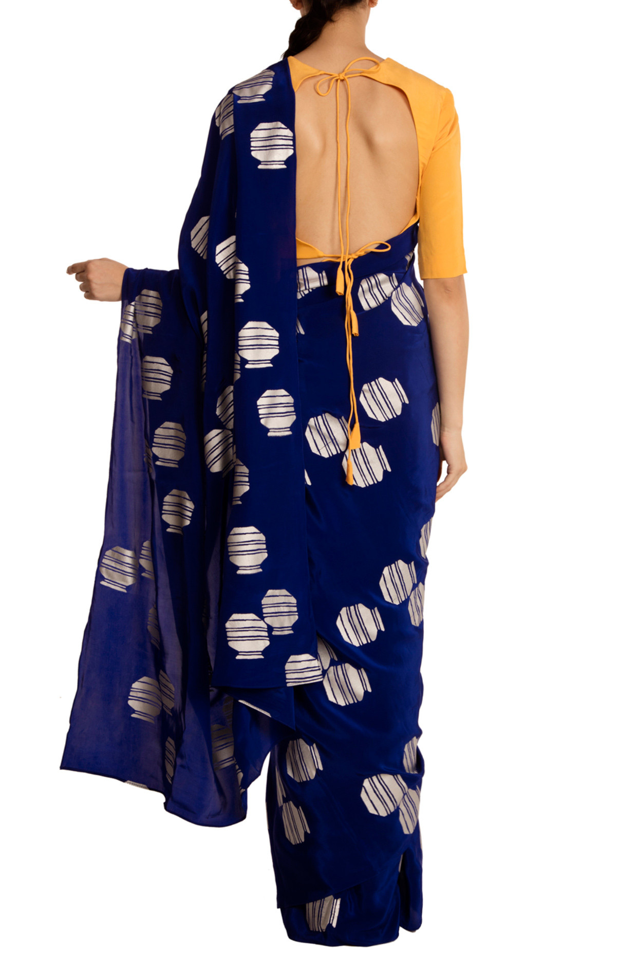 Blue Tribal Vase Print Saree with Blouse Piece by Masaba