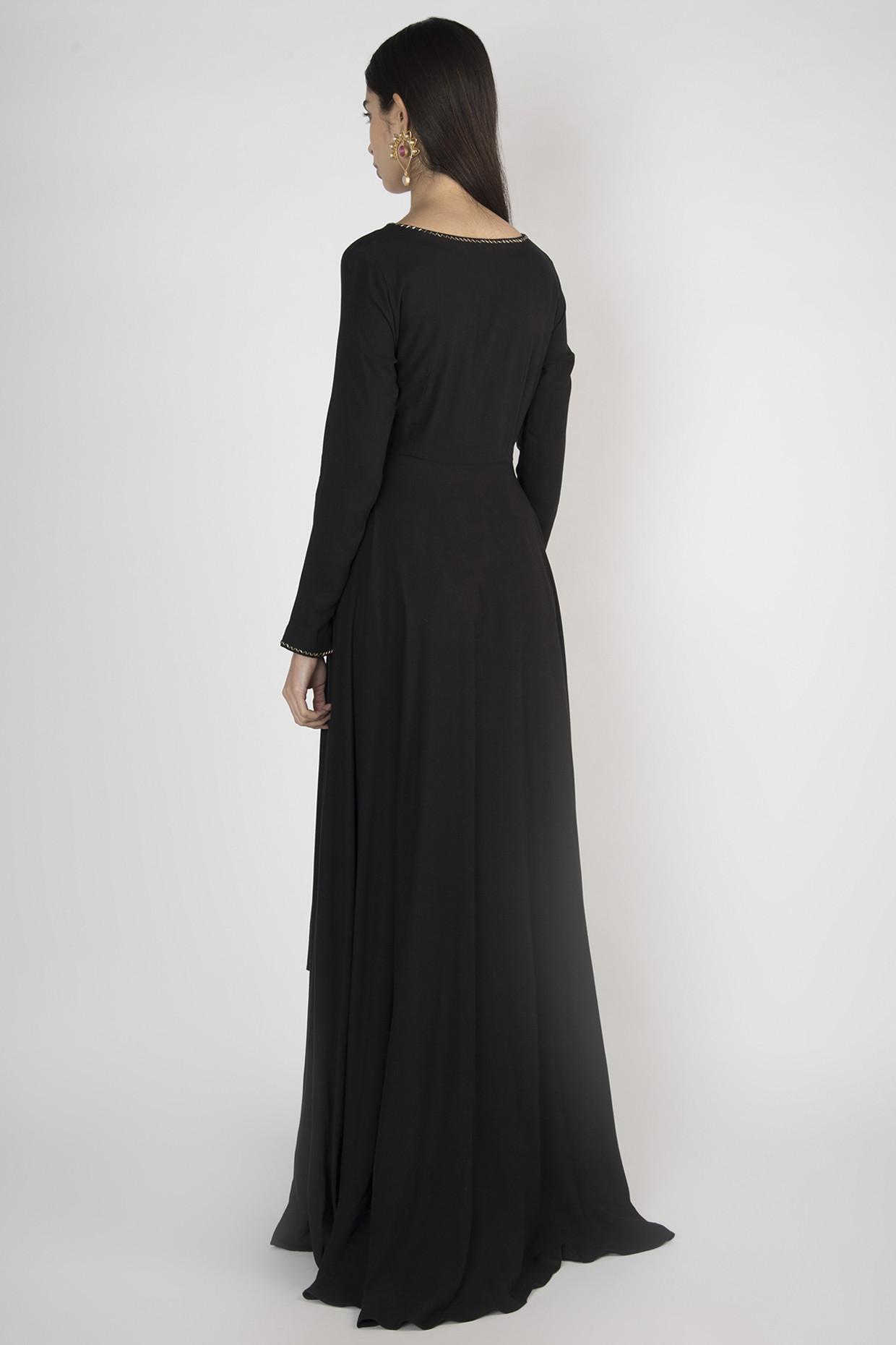 Black Angrakha Style Kurta With Pants by Megh Malhaar