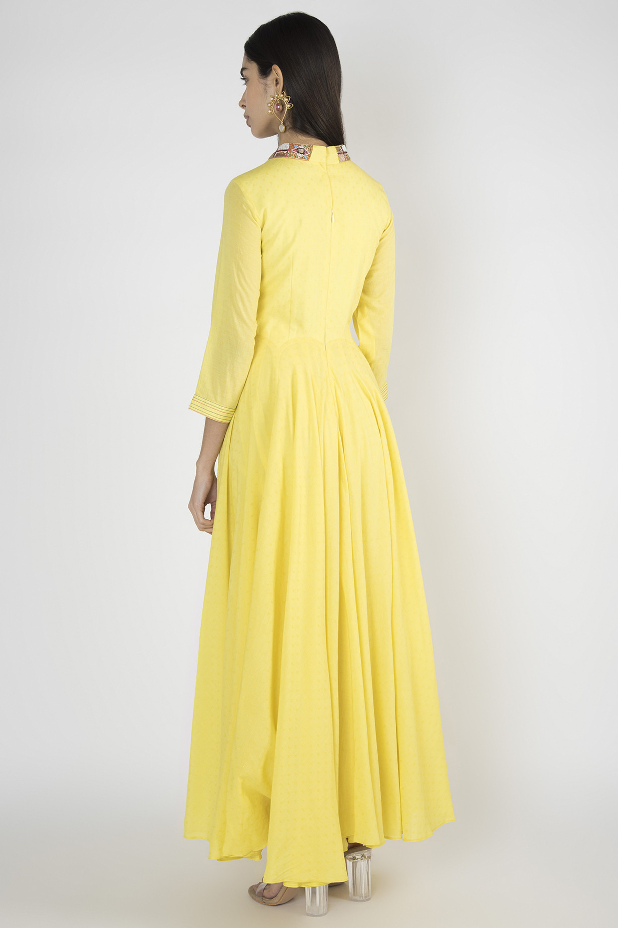 Yellow Embroidered Bead Work Anarkali by Megh Malhaar