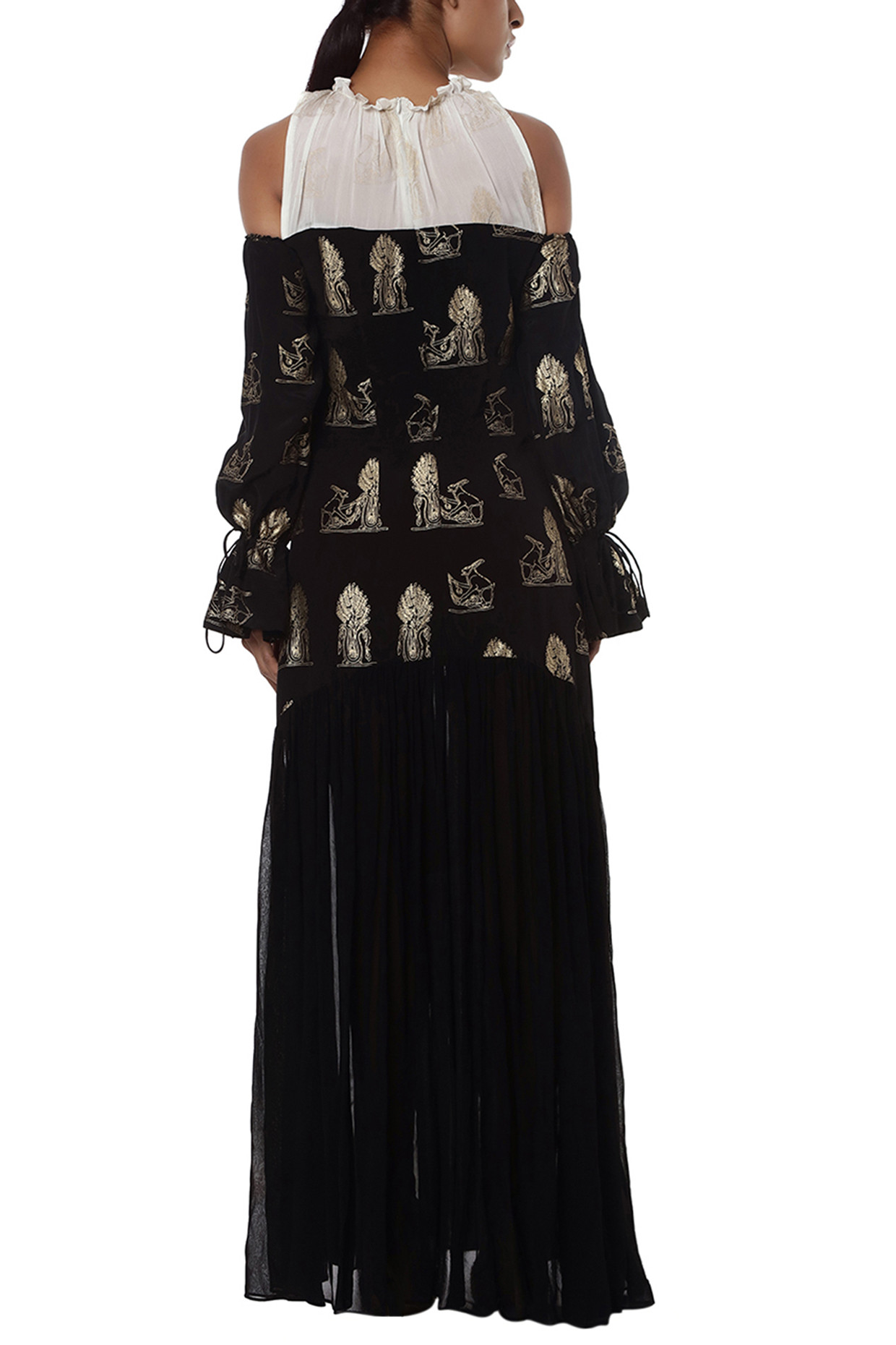 Black and white printed cold shoulder gown by Masaba