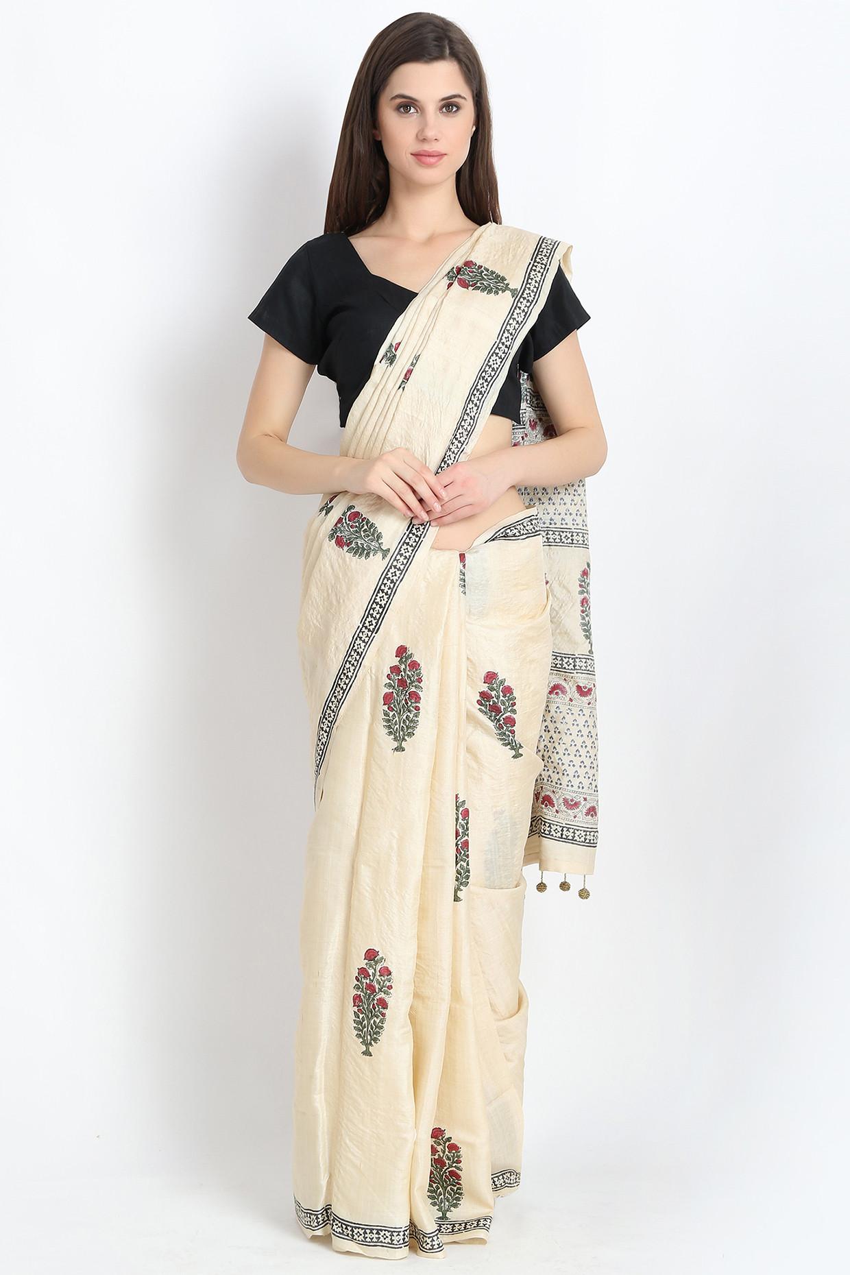 Stylish Hand Block Printed Tussar Silk Saree In Beige by Palash