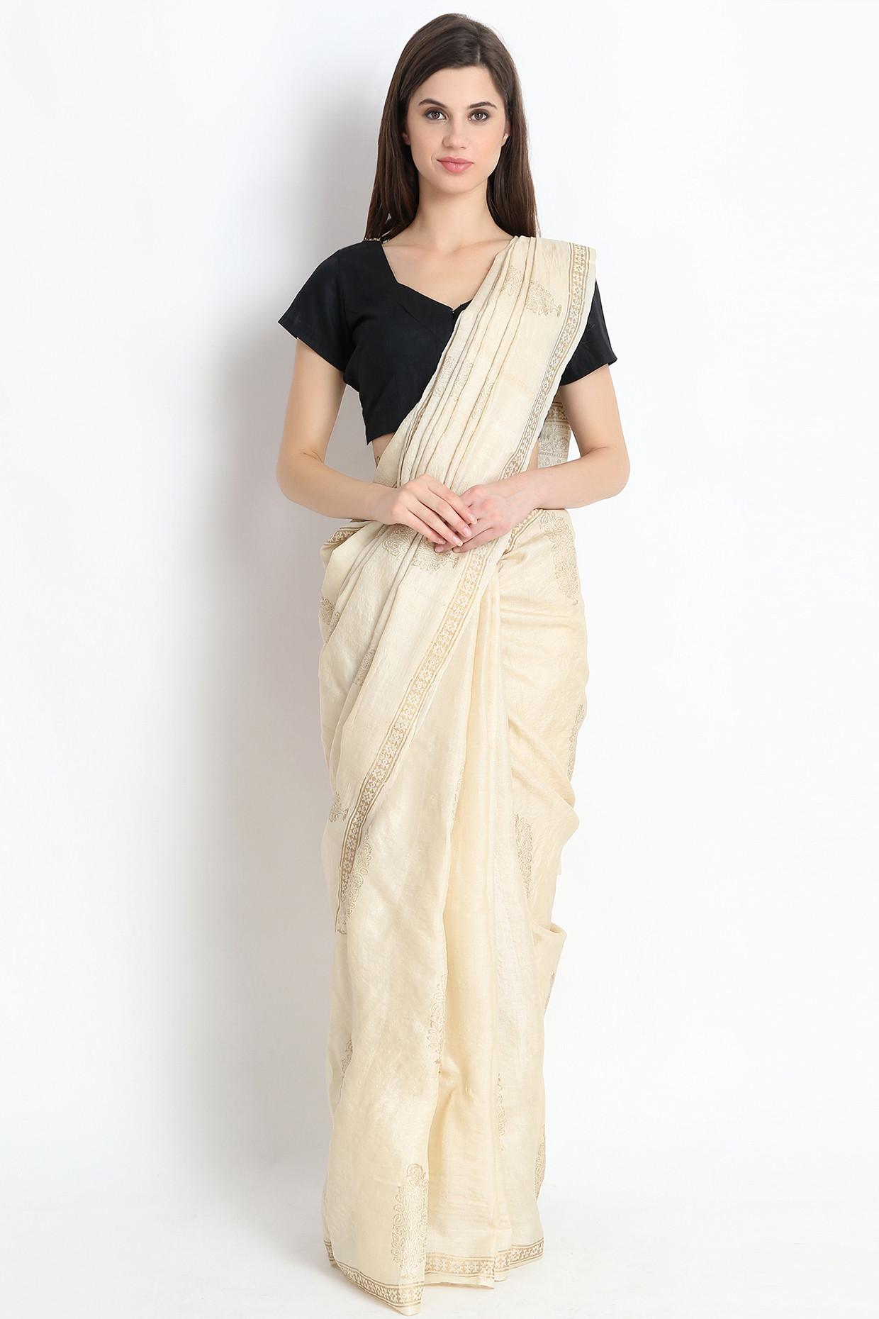 Exclusive Hand Block Printed Tussar Silk Saree In Beige by Palash